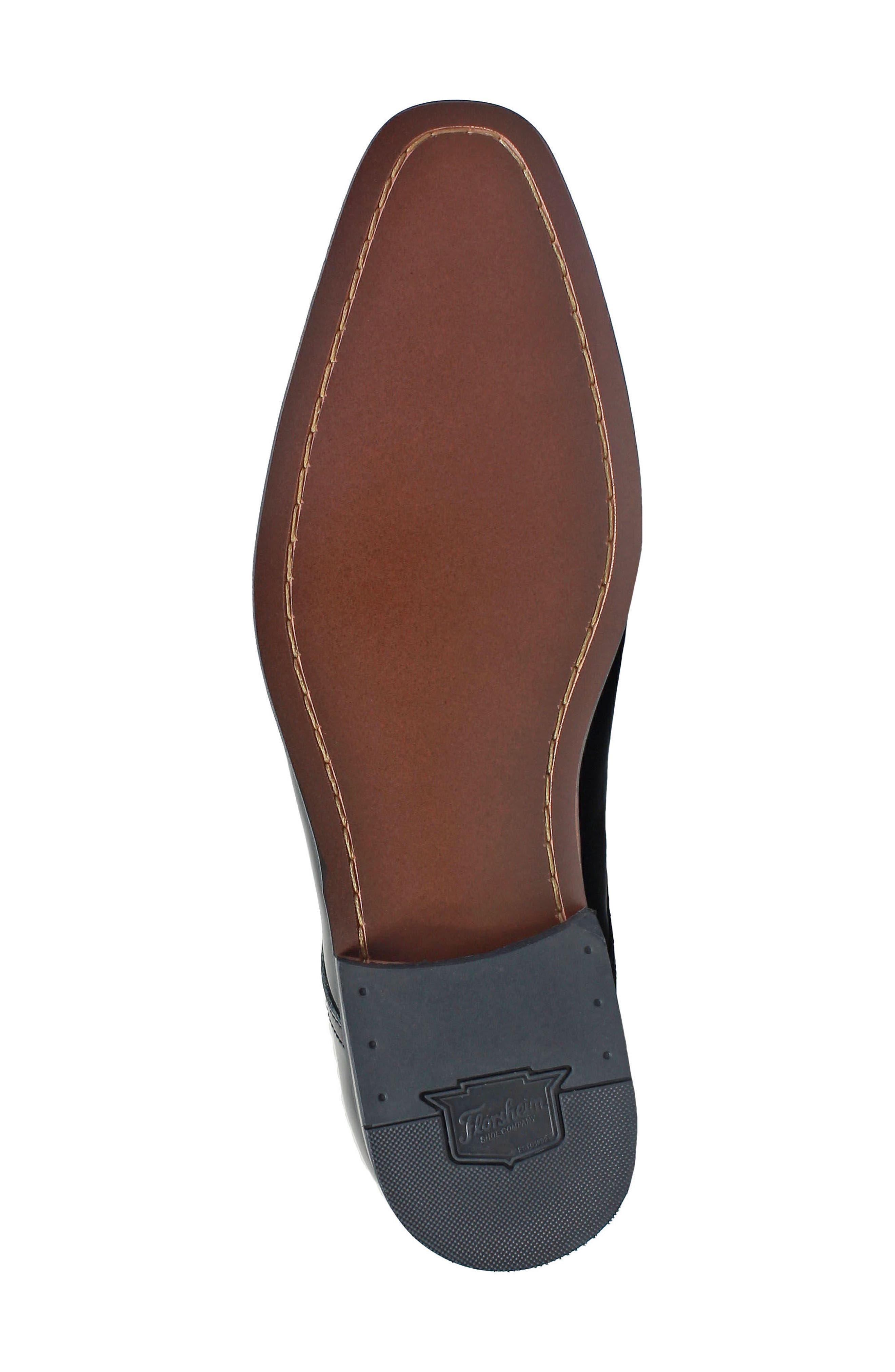 FLORSHEIM, Tux Plain Toe Derby, Alternate thumbnail 6, color, BLACK PATENT LEATHER
