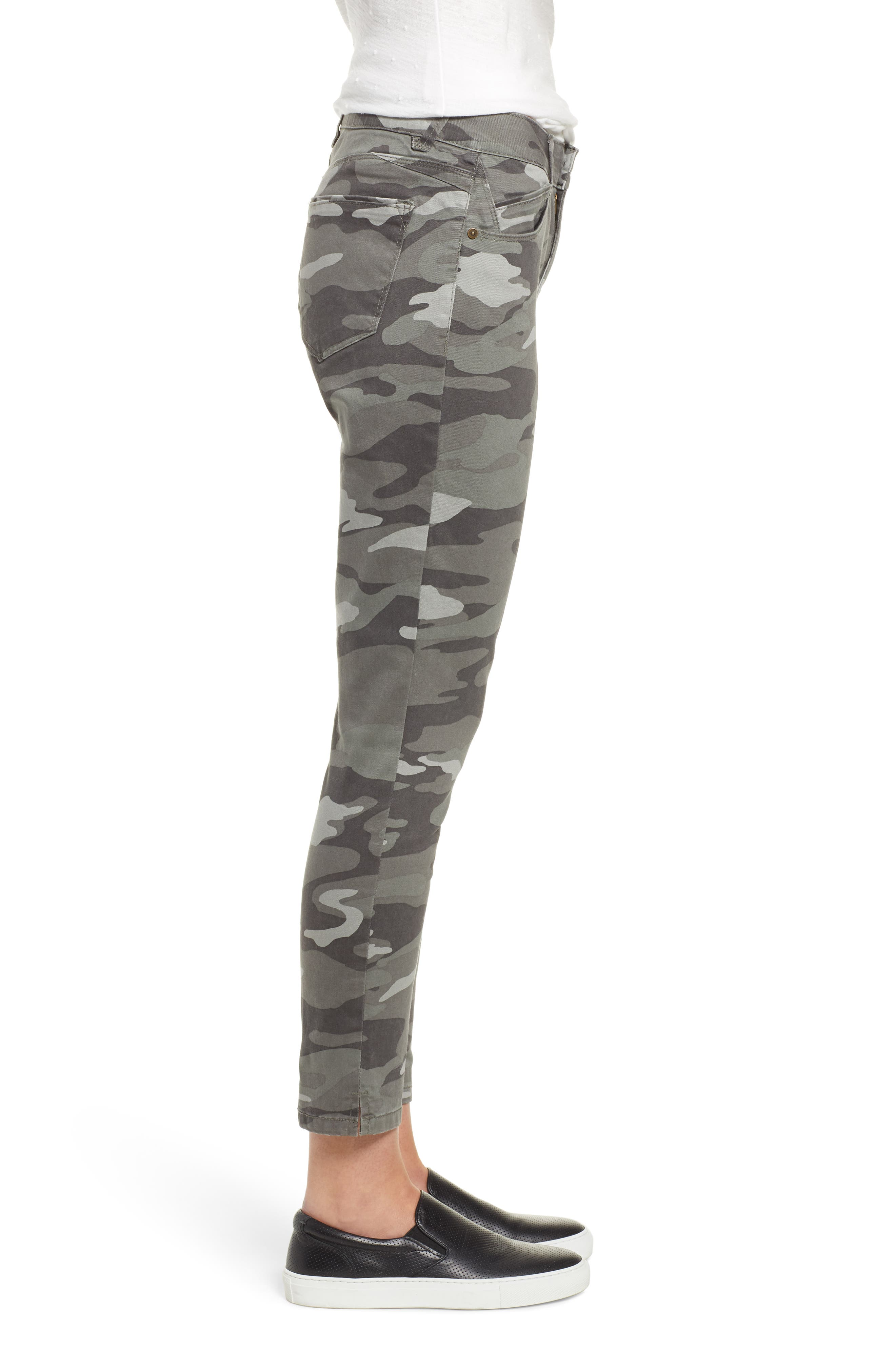WIT & WISDOM, Ab-Solution Camo High Waist Ankle Skinny Pants, Alternate thumbnail 4, color, SAGE CAMO