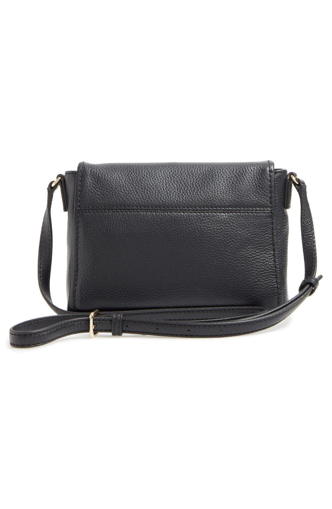 KATE SPADE NEW YORK, 'cobble hill - mini toddy' leather crossbody bag, Alternate thumbnail 3, color, 001