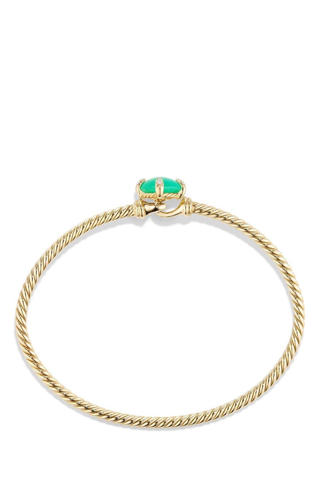 DAVID YURMAN, 'Châtelaine' Bracelet in 18K Gold with Diamonds, Alternate thumbnail 2, color, CHRYSOPRASE