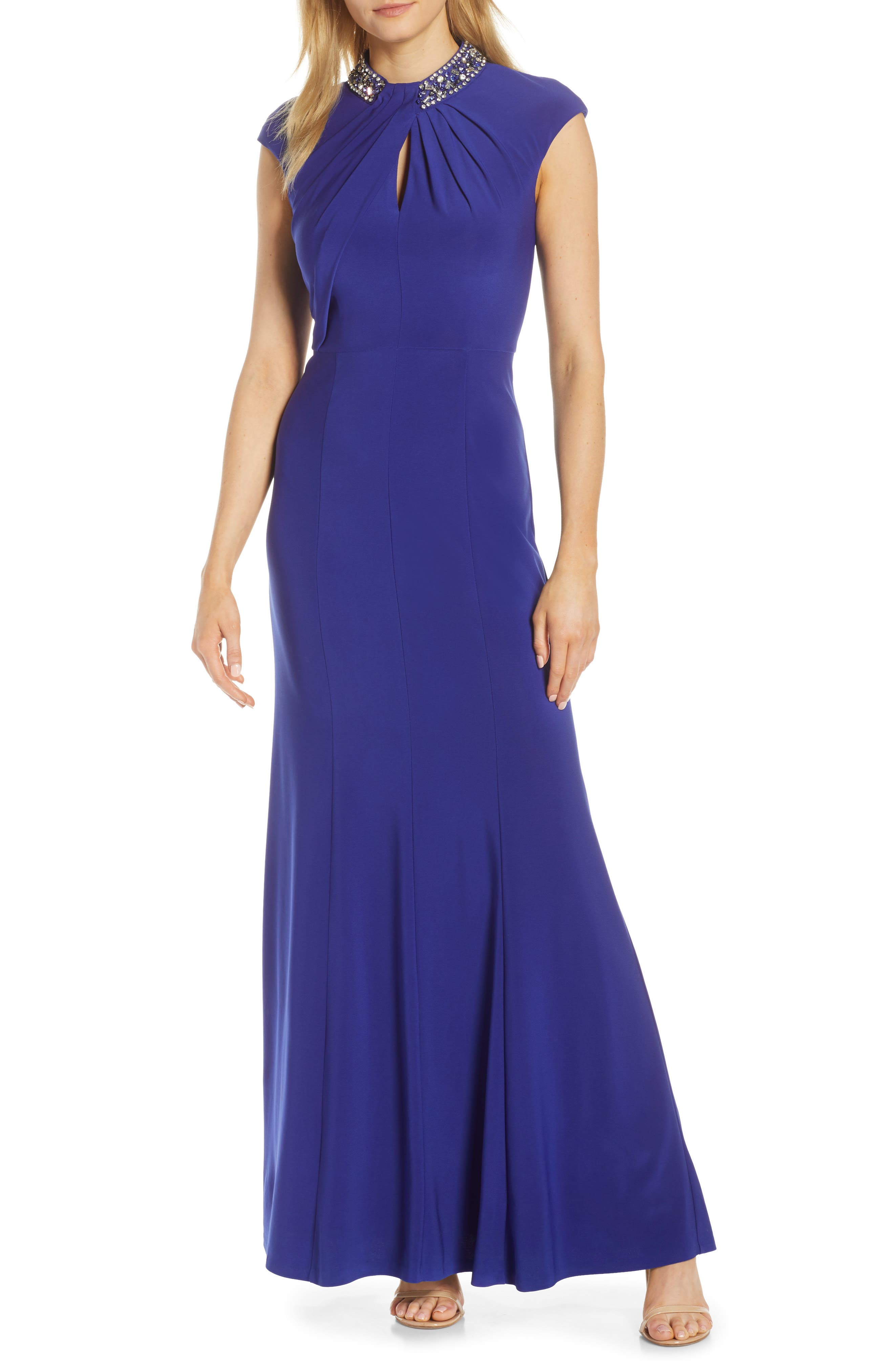 Petite Vince Camuto Embellished Twist Neck Gown, Blue