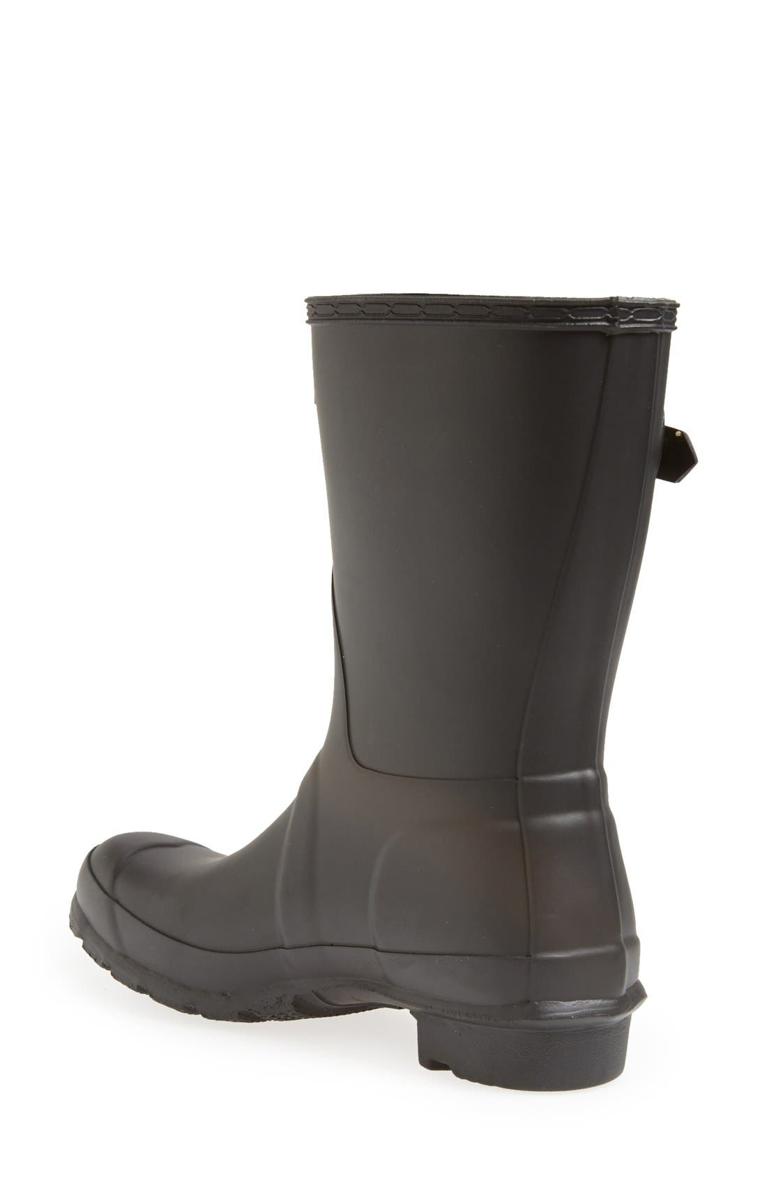 HUNTER, Original Short Waterproof Rain Boot, Alternate thumbnail 6, color, BLACK MATTE