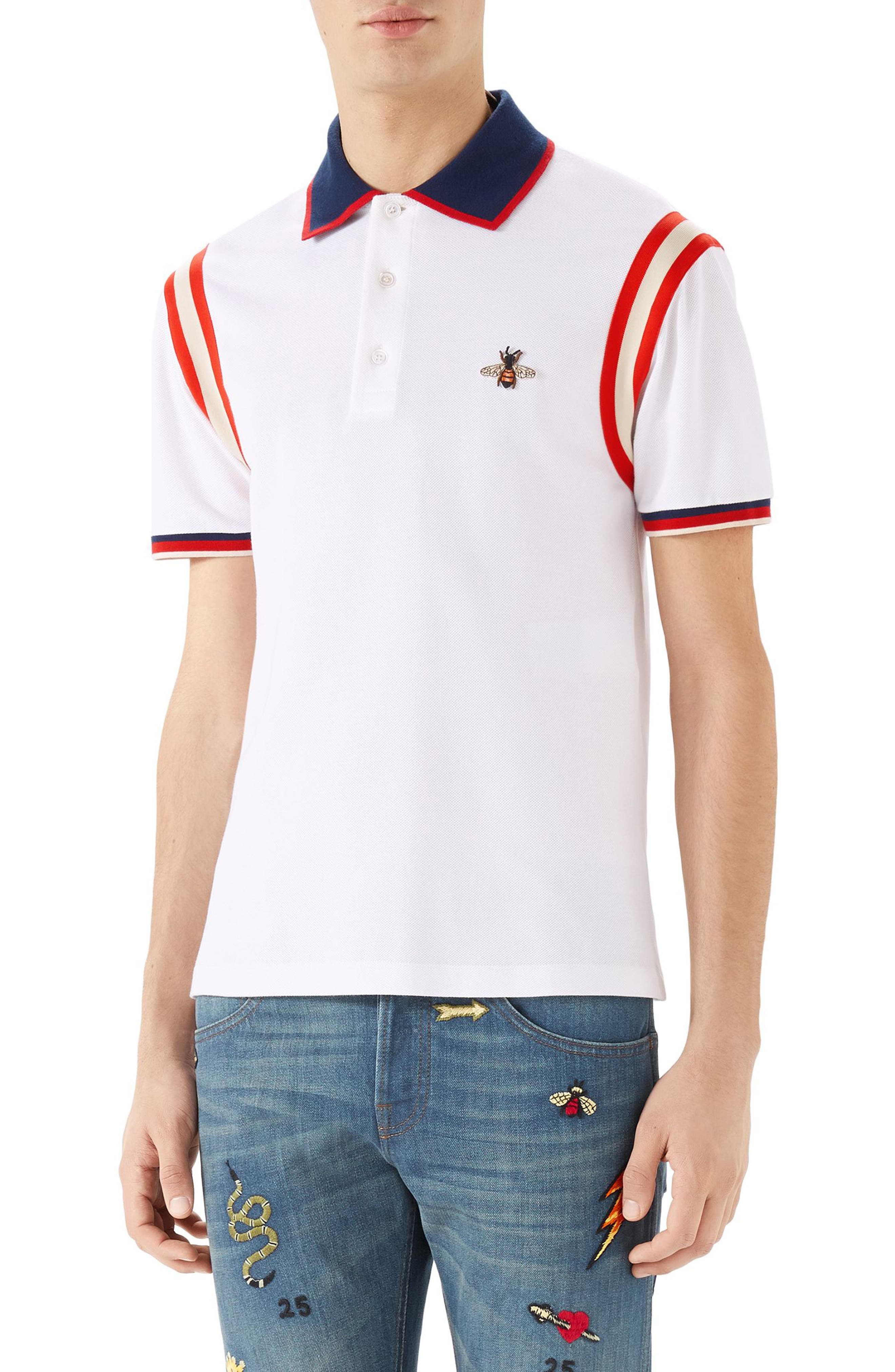 GUCCI Stripe Sleeve Bee Polo, Main, color, 100