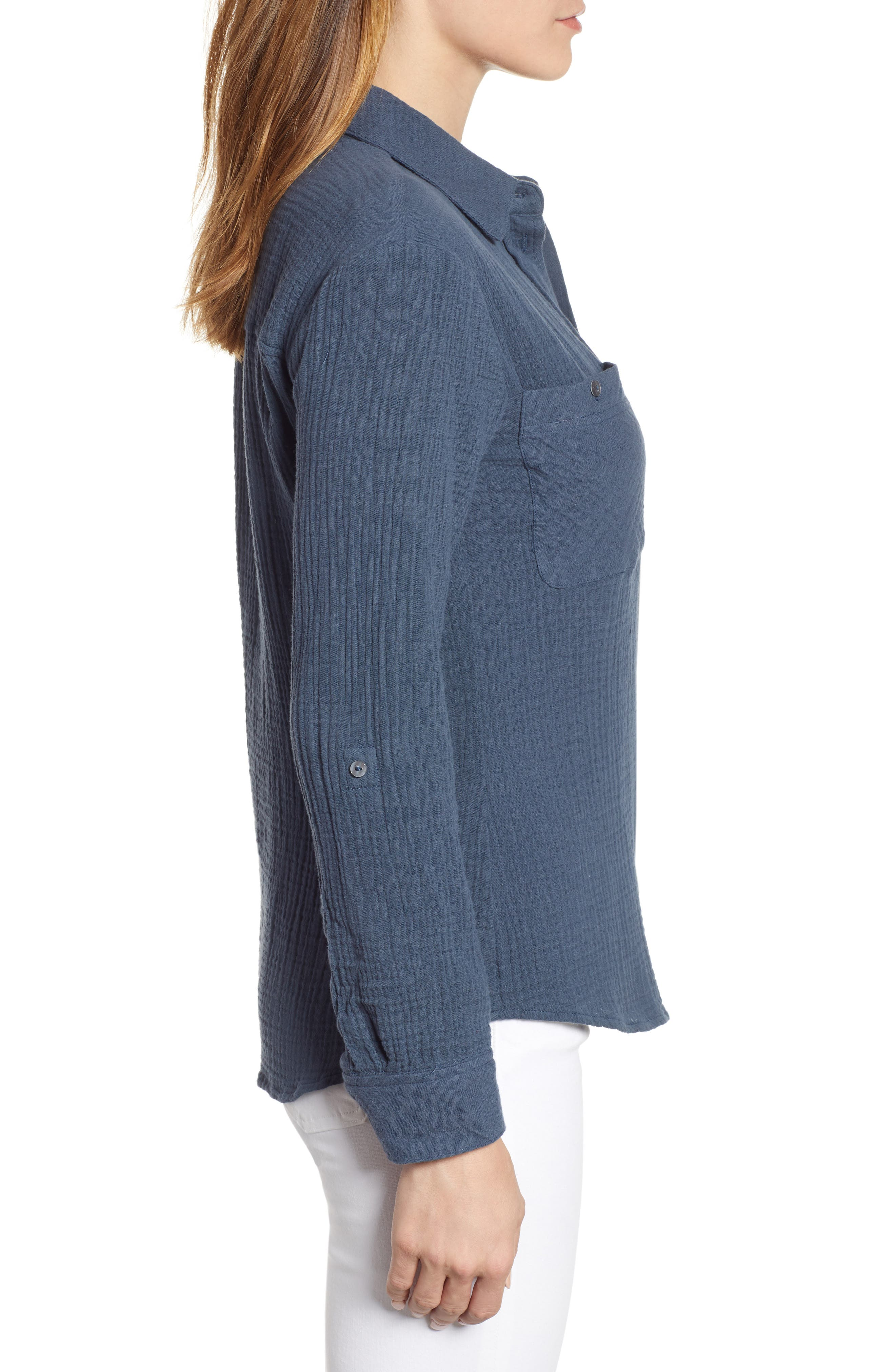 1.STATE, Patch Pocket Gauze Top, Alternate thumbnail 3, color, MIDNIGHT SKY