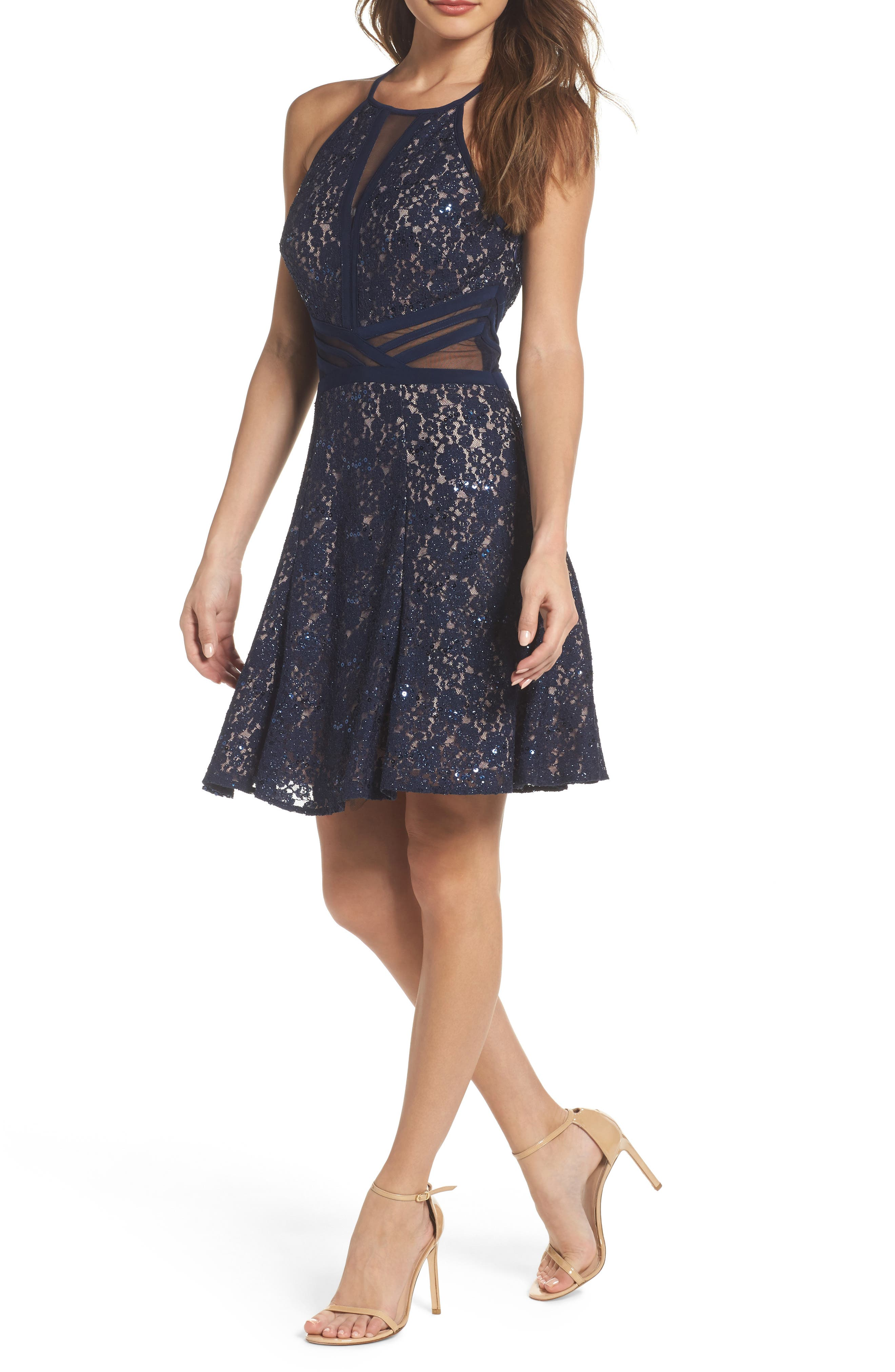 Morgan & Co. Sheer Inset Lace Fit & Flare Dress, /2 - Blue