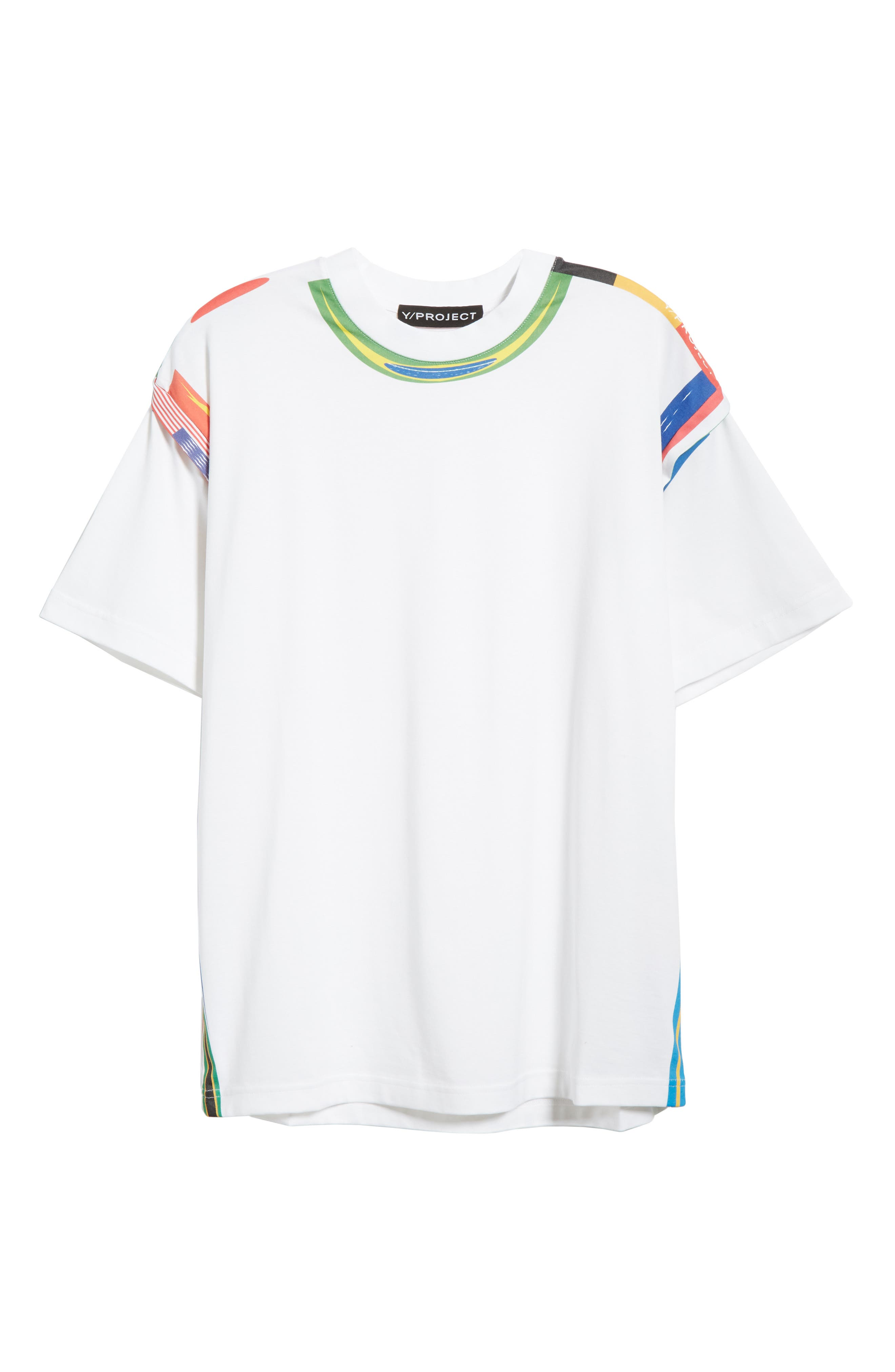 Y/PROJECT, Flag Print Tee, Alternate thumbnail 6, color, WHITE