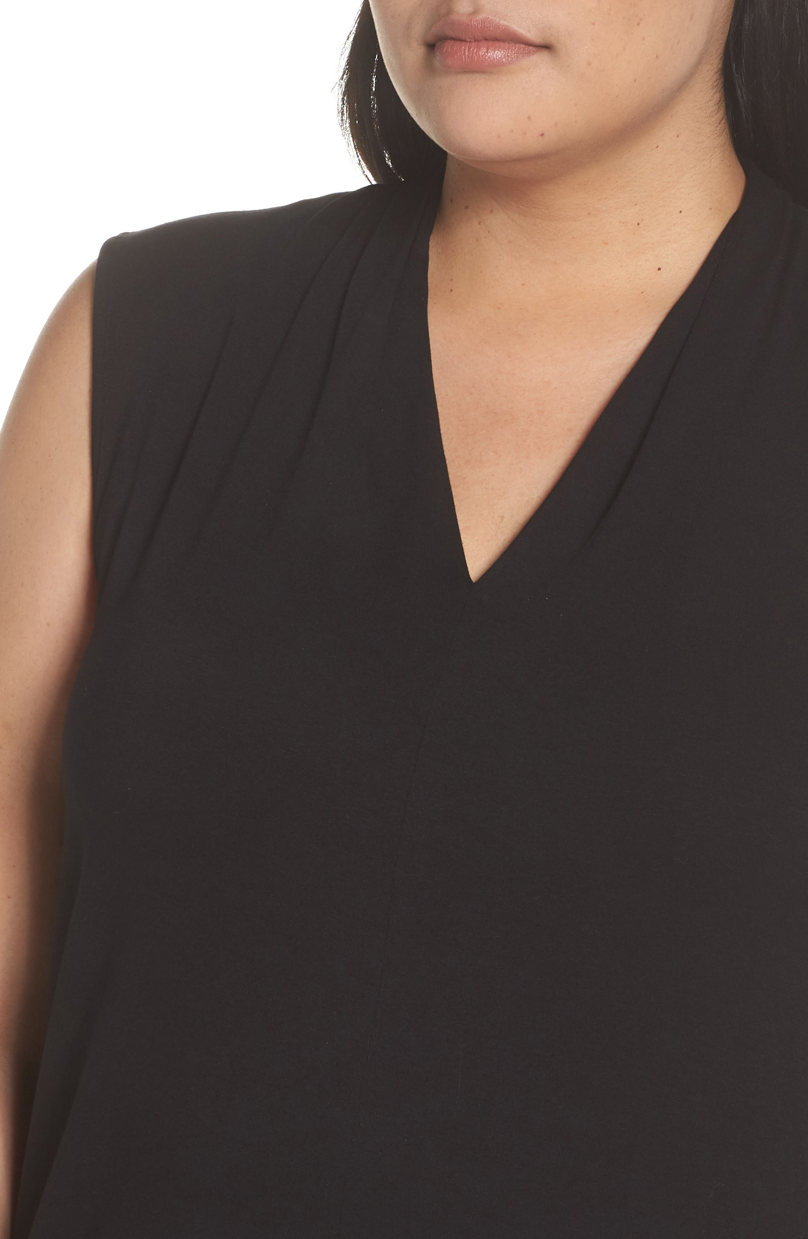 VINCE CAMUTO, Sleeveless V-Neck Knit Blouse, Alternate thumbnail 5, color, RICH BLACK