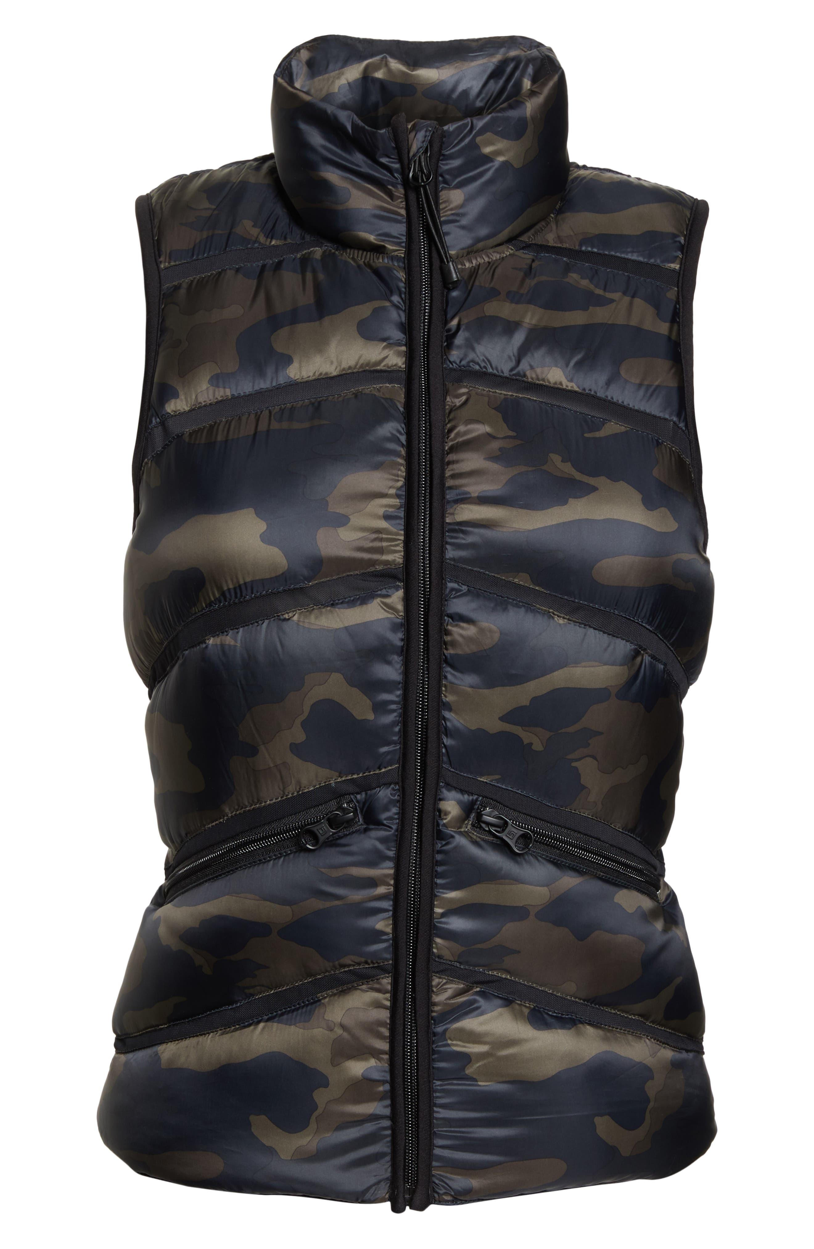 BLANC NOIR Mesh Inset Down Vest, Main, color, CAMO/ BLACK