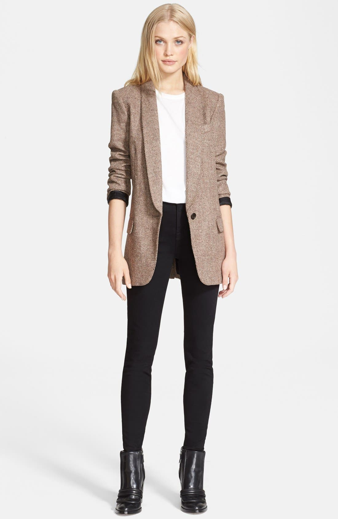 SMYTHE, Herringbone Boyfriend Blazer, Alternate thumbnail 3, color, 251