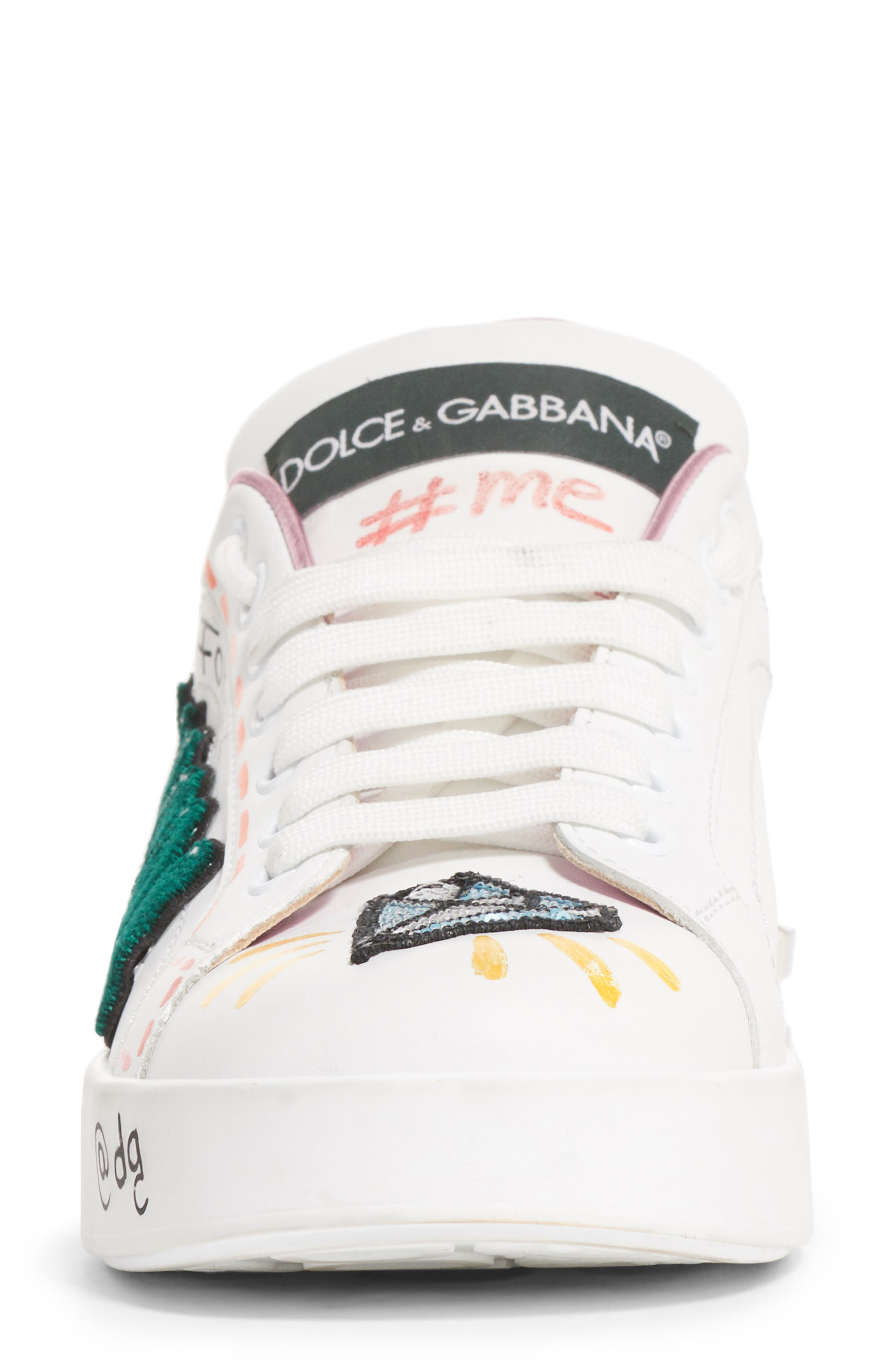 DOLCE&GABBANA, Queen Graffiti Lace-Up Sneaker, Alternate thumbnail 4, color, 110