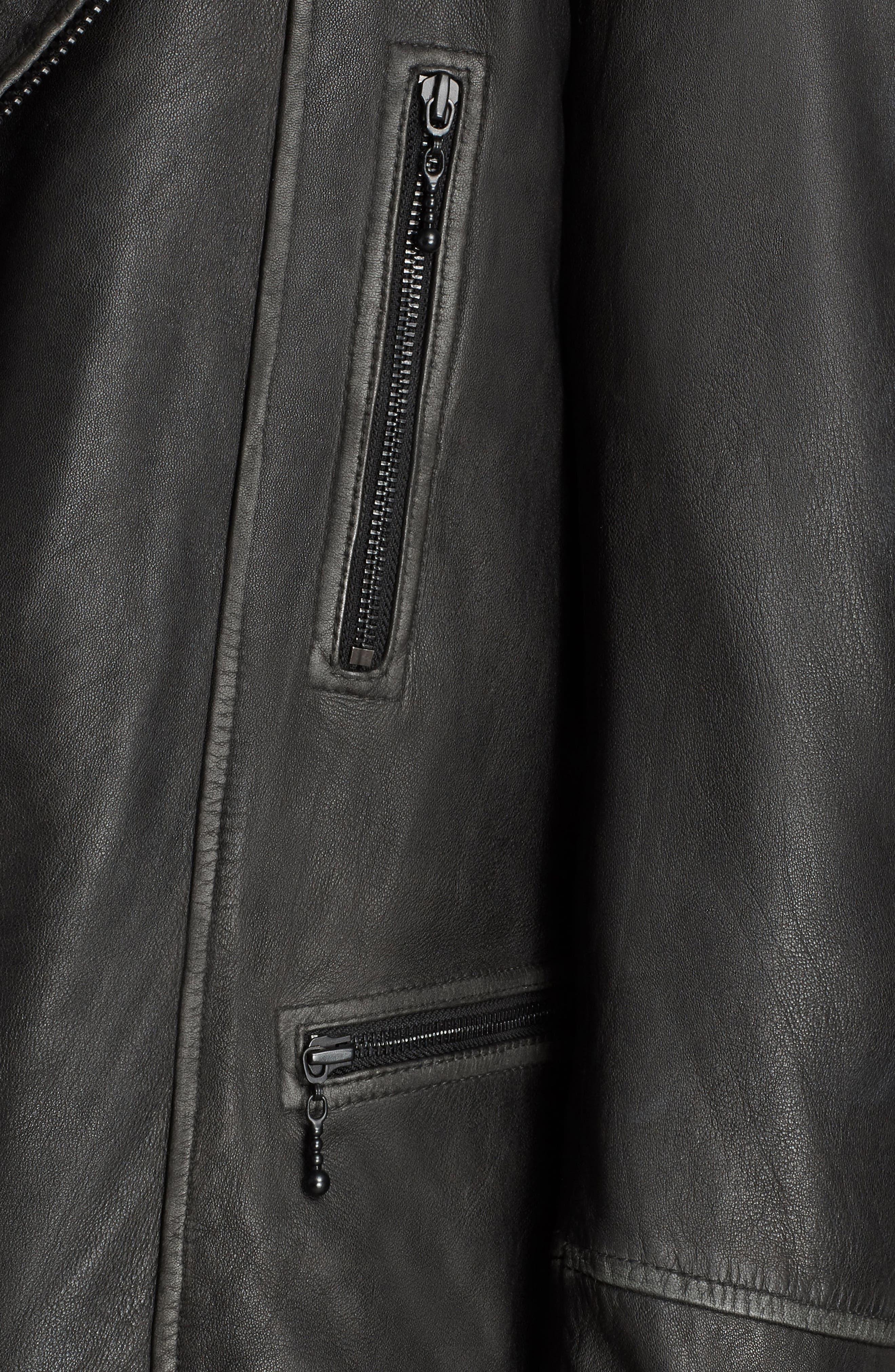 ALLSAINTS, Cargo Biker Slim Fit Leather Jacket, Alternate thumbnail 8, color, BLACK GREY