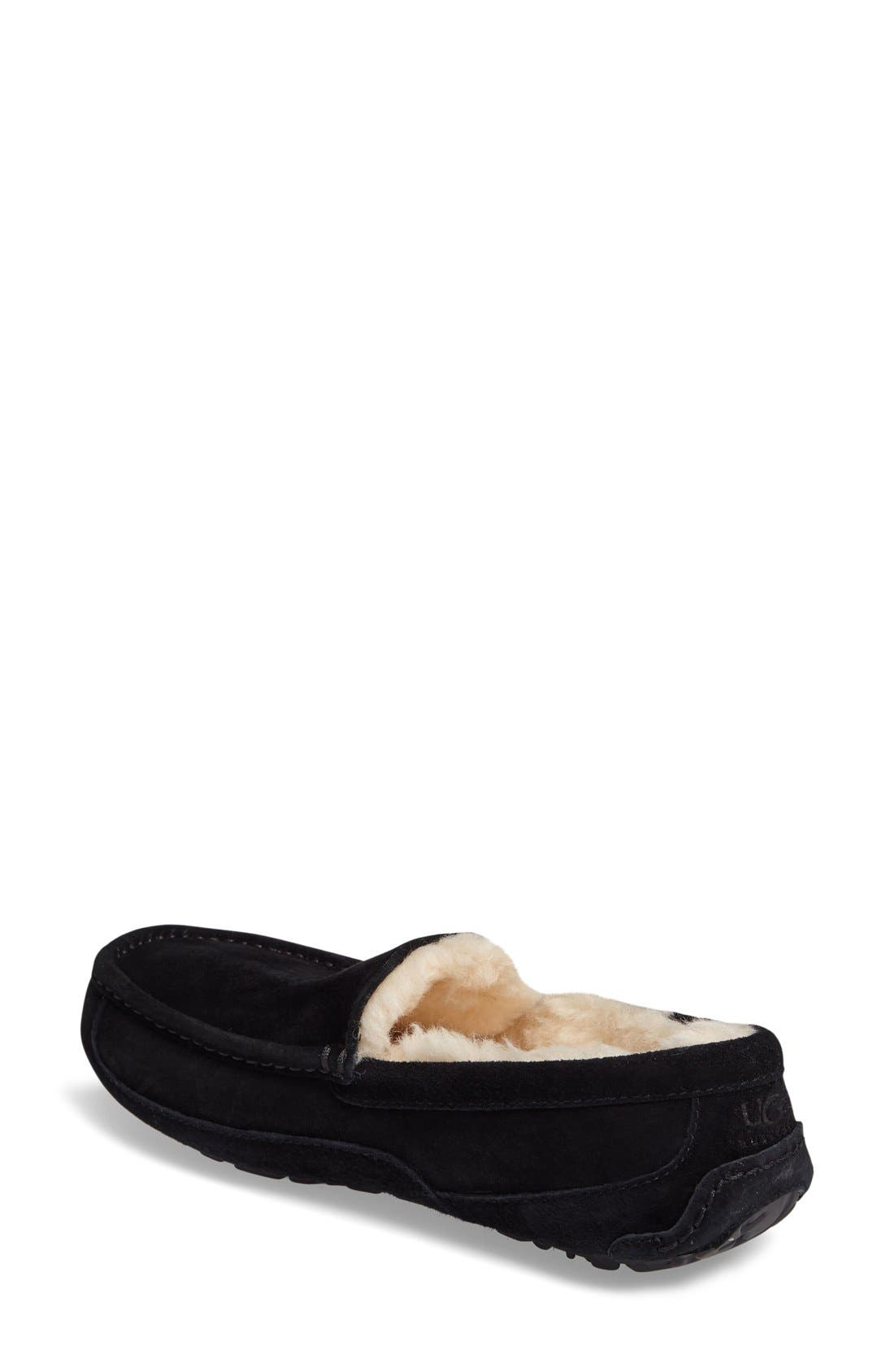 UGG<SUP>®</SUP>, Ascot Suede Slipper, Alternate thumbnail 4, color, BLACK SUEDE