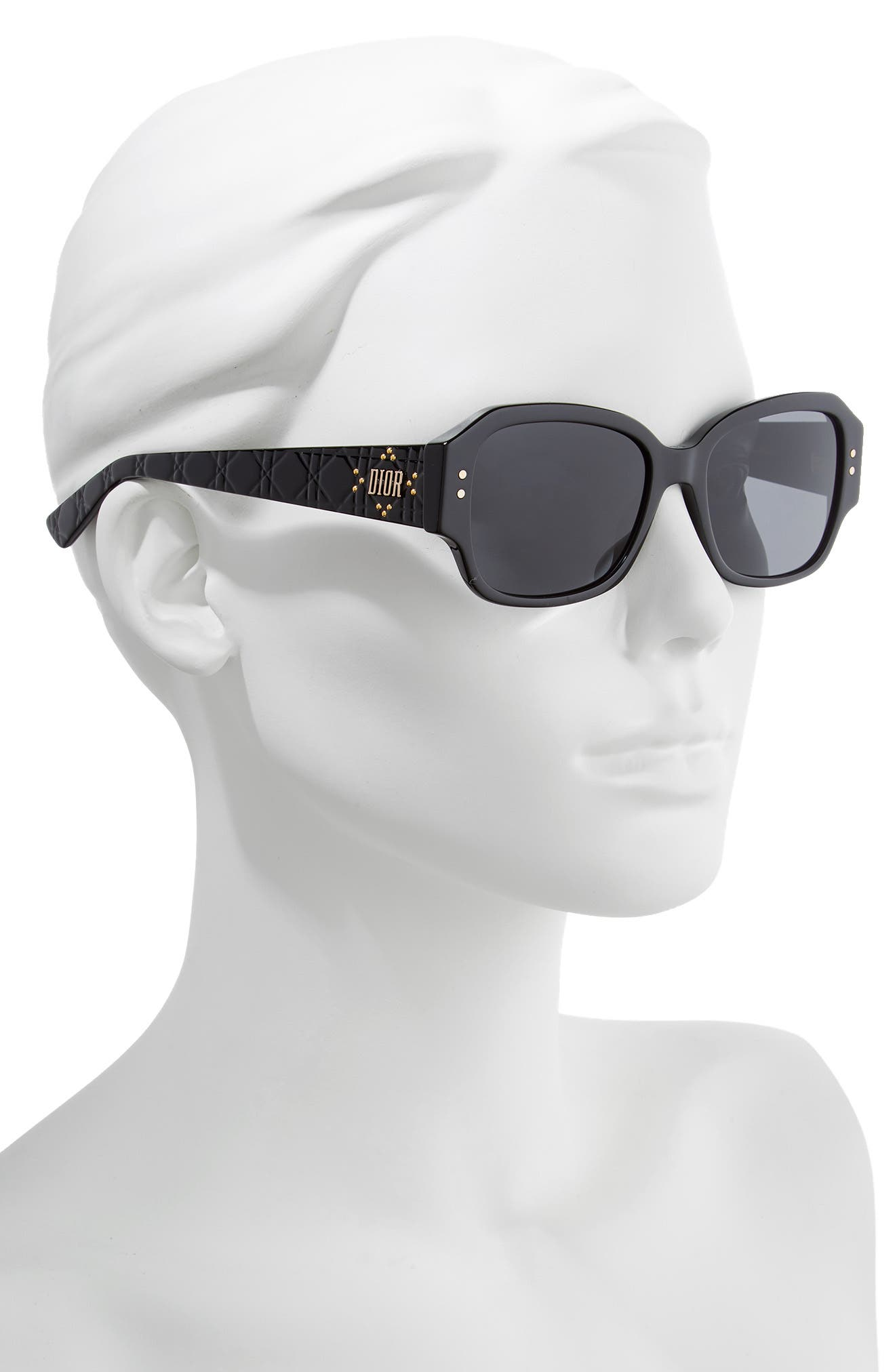 DIOR, Ladydiorstuds5 54mm Sunglasses, Alternate thumbnail 2, color, BLACK