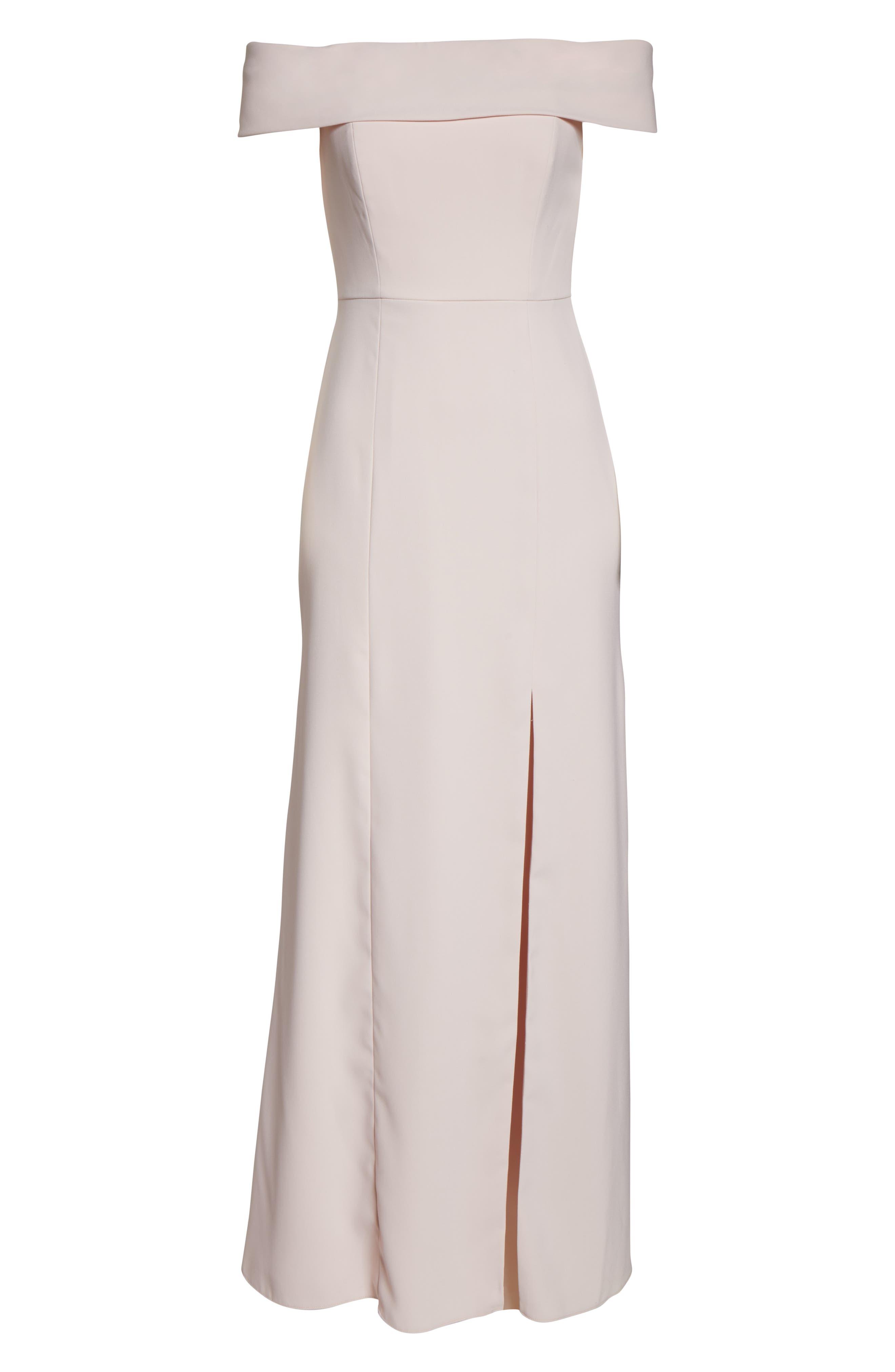 DESSY COLLECTION, Off the Shoulder Side Slit Crepe Gown, Alternate thumbnail 3, color, BLUSH