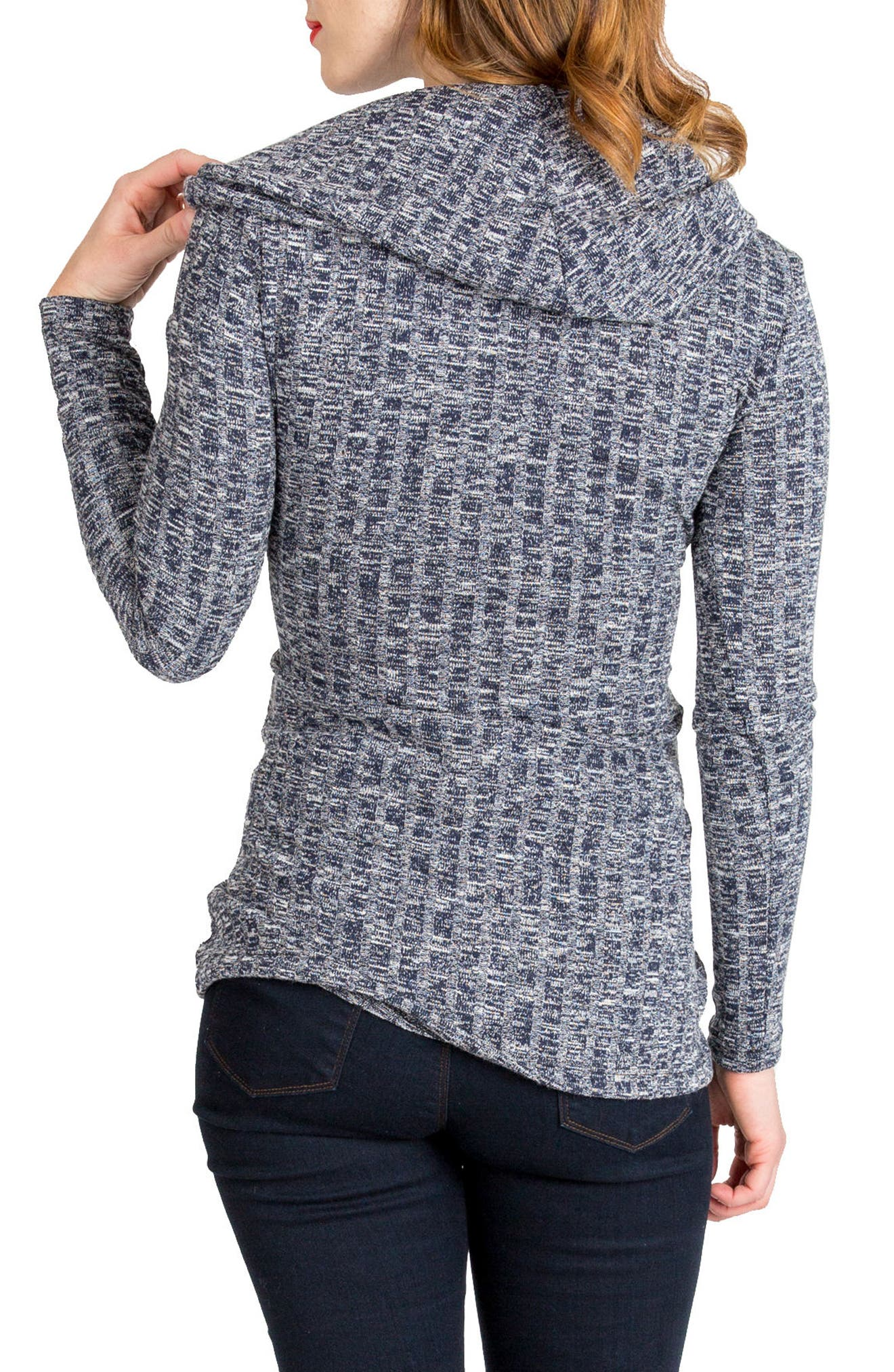 NOM MATERNITY, Ophelia Cowl Neck Maternity Sweater, Alternate thumbnail 2, color, NAVY HEATHER RIB