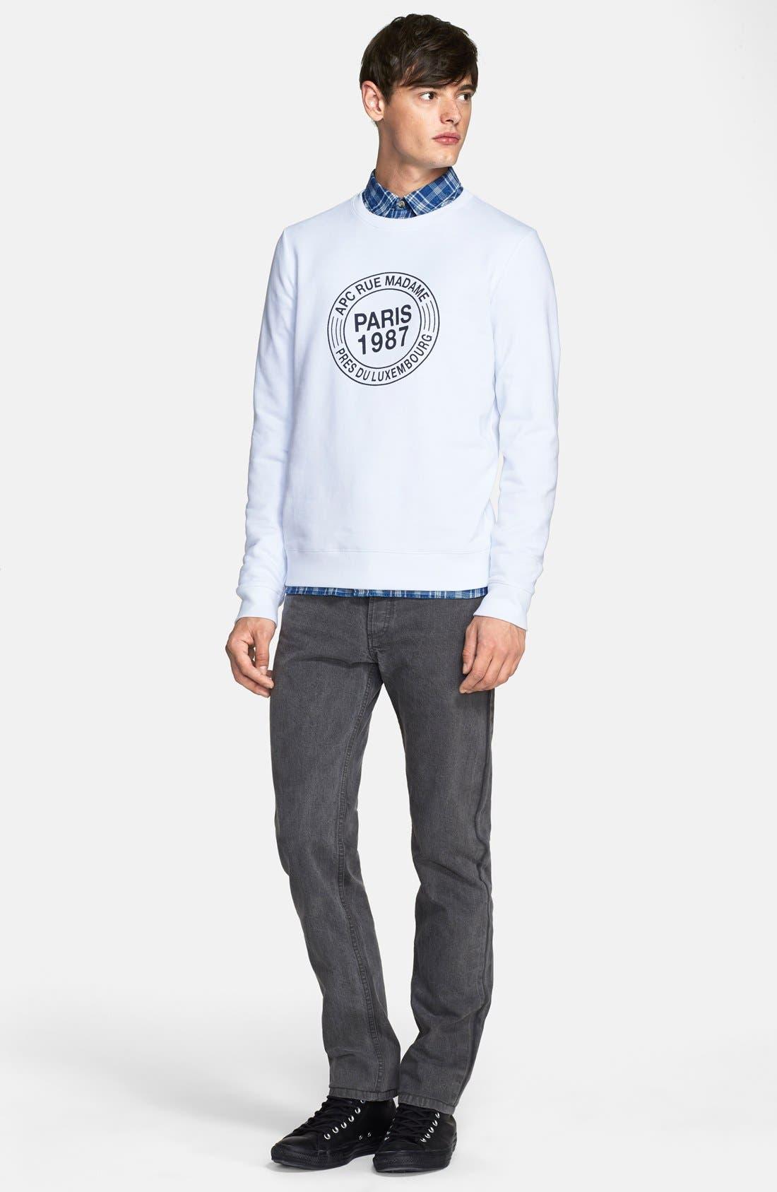 A.P.C., 'Paris 87' Graphic Sweatshirt, Alternate thumbnail 5, color, 100