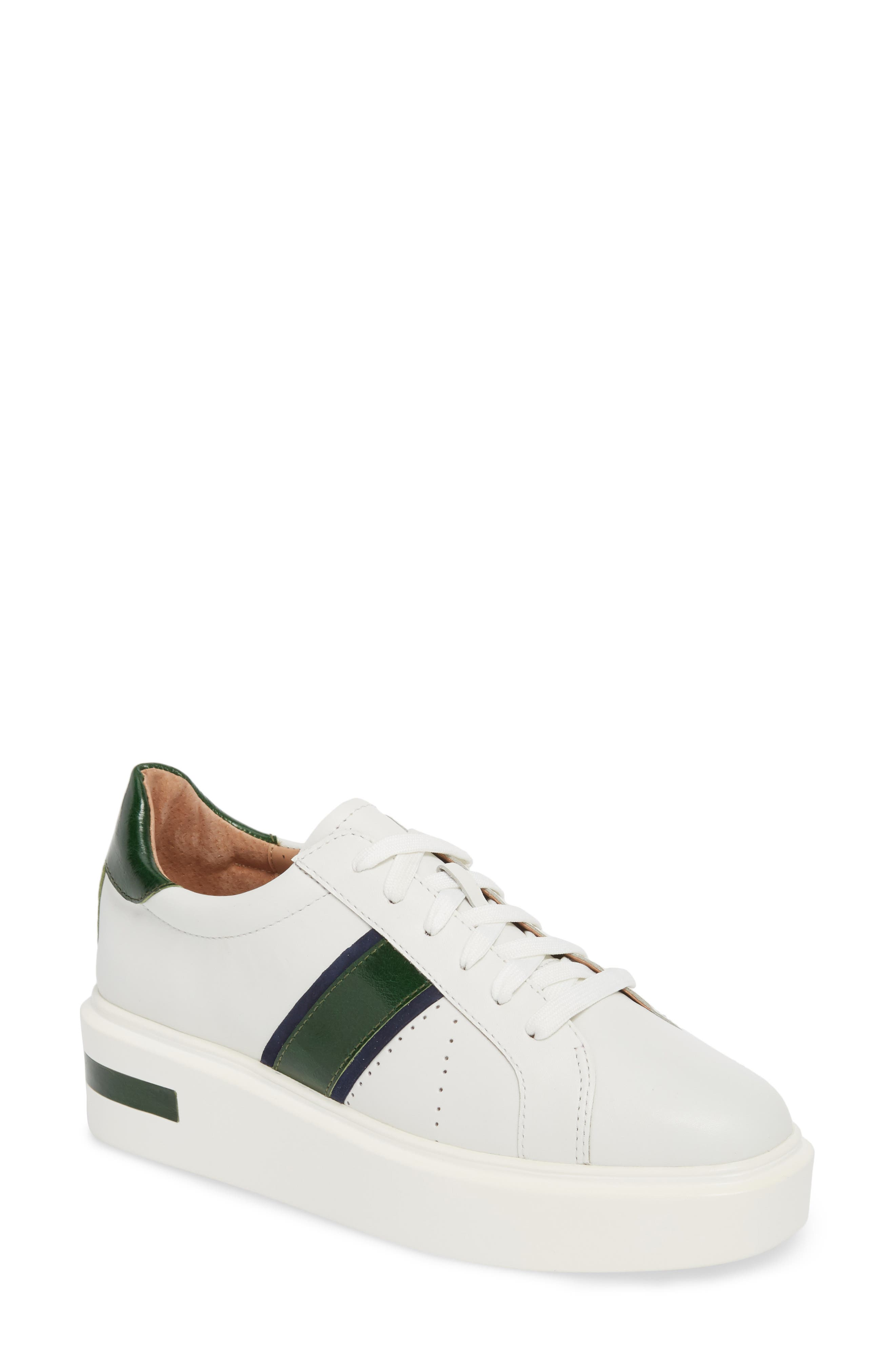 LINEA PAOLO Knox Platform Sneaker, Main, color, WHITE LEATHER