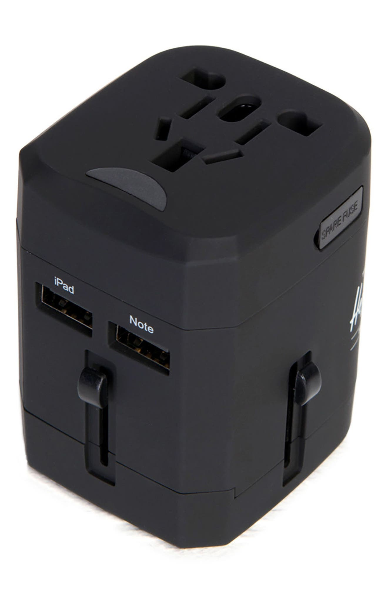 HERSCHEL SUPPLY CO., Travel Outlet Adapter, Alternate thumbnail 3, color, BLACK