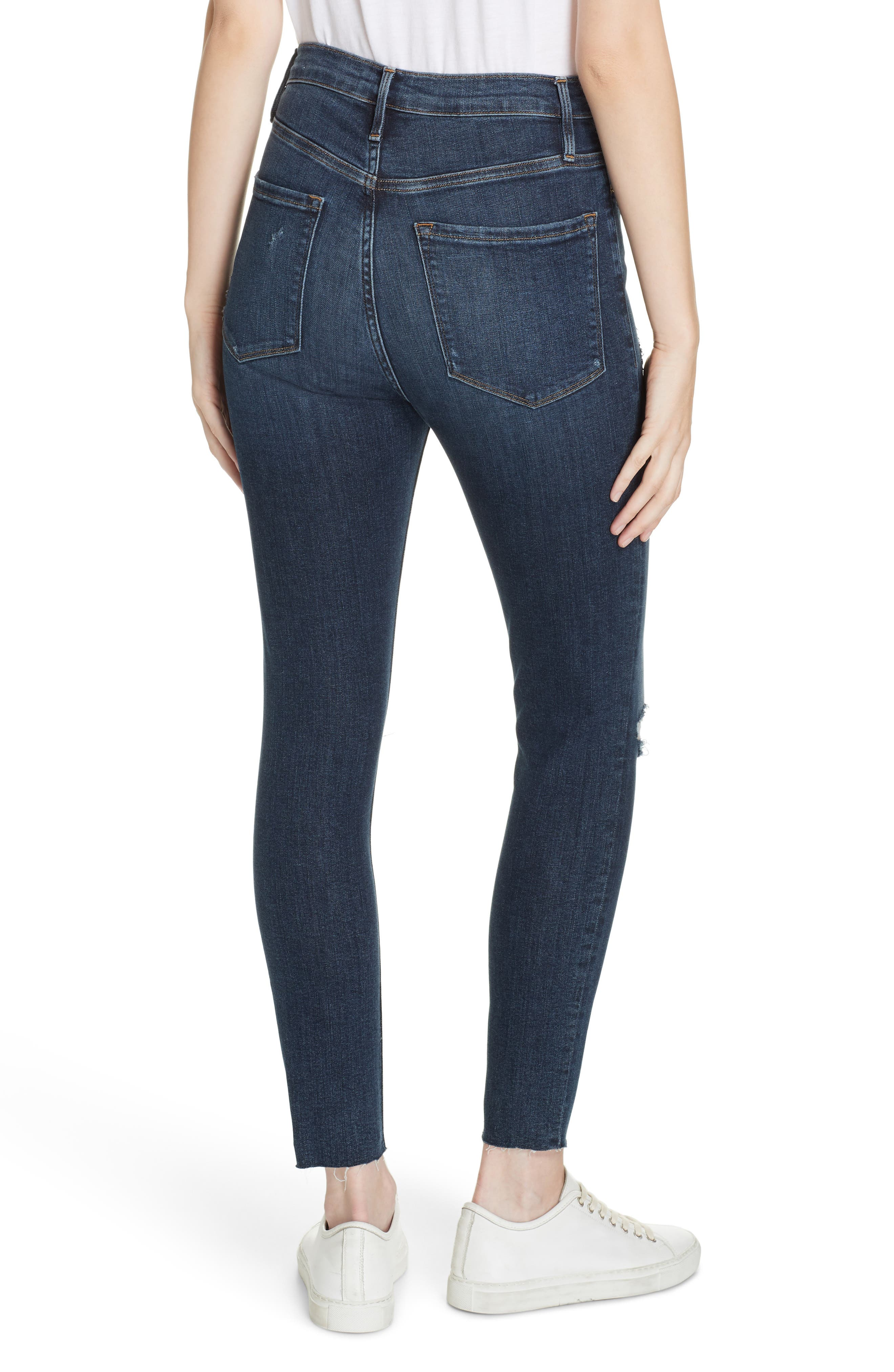 FRAME, Ali Ripped High Waist Crop Cigarette Jeans, Alternate thumbnail 2, color, BROKEDOWN PALACE