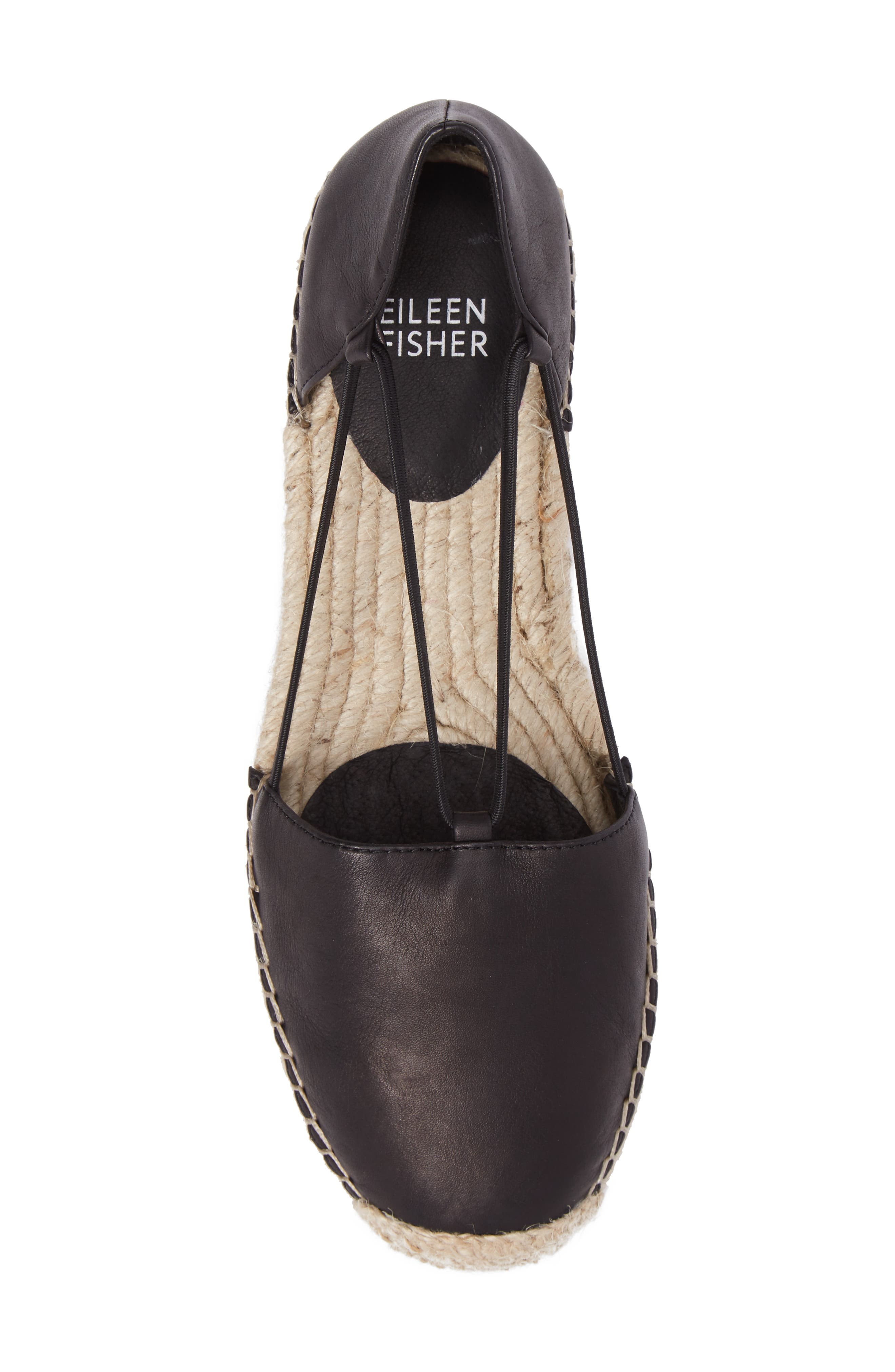 EILEEN FISHER, Lee Espadrille Flat, Alternate thumbnail 5, color, BLACK WASHED LEATHER