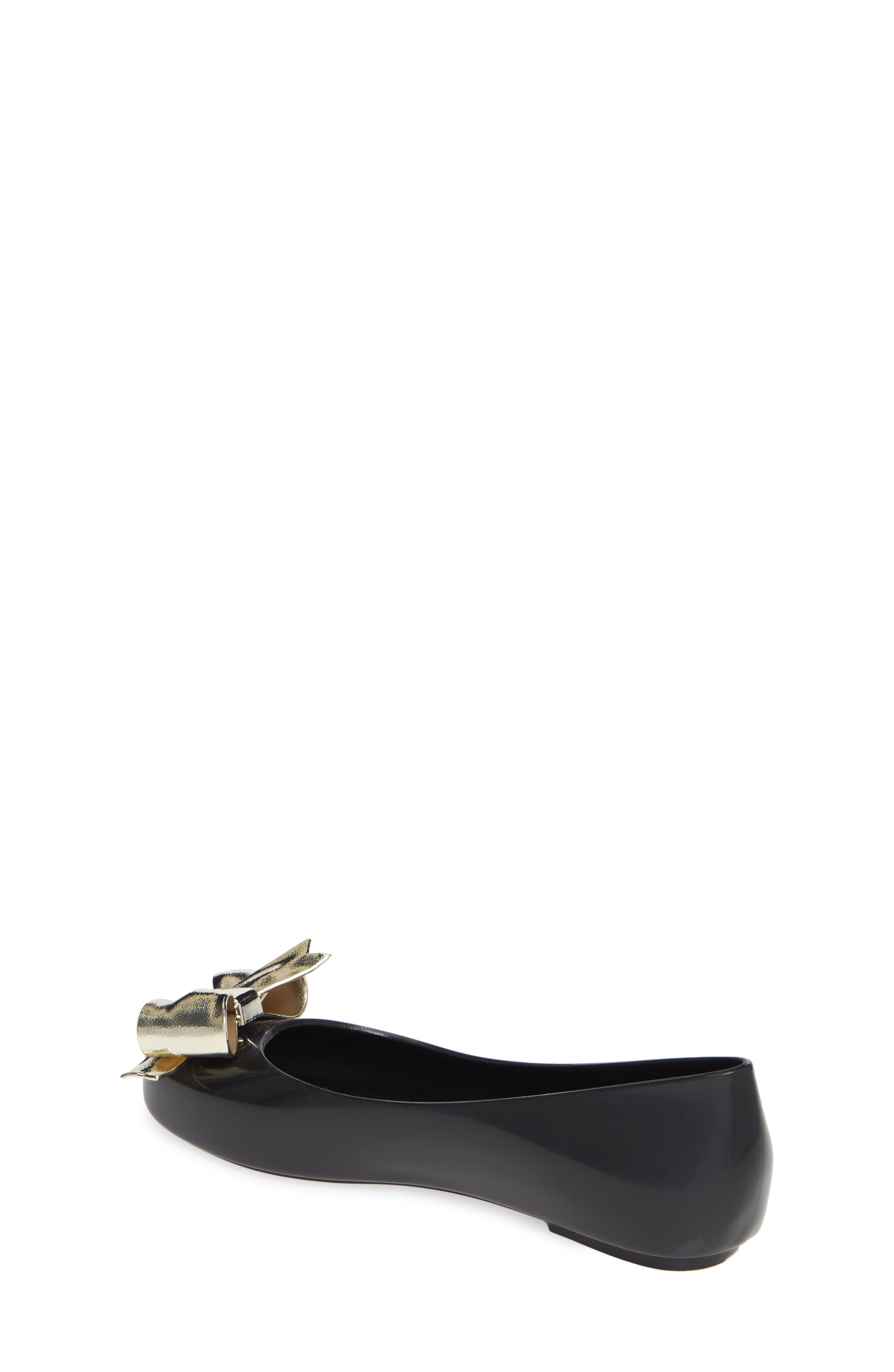 MEL BY MELISSA, Space Love II Bow Flat, Alternate thumbnail 2, color, BLACK GOLD