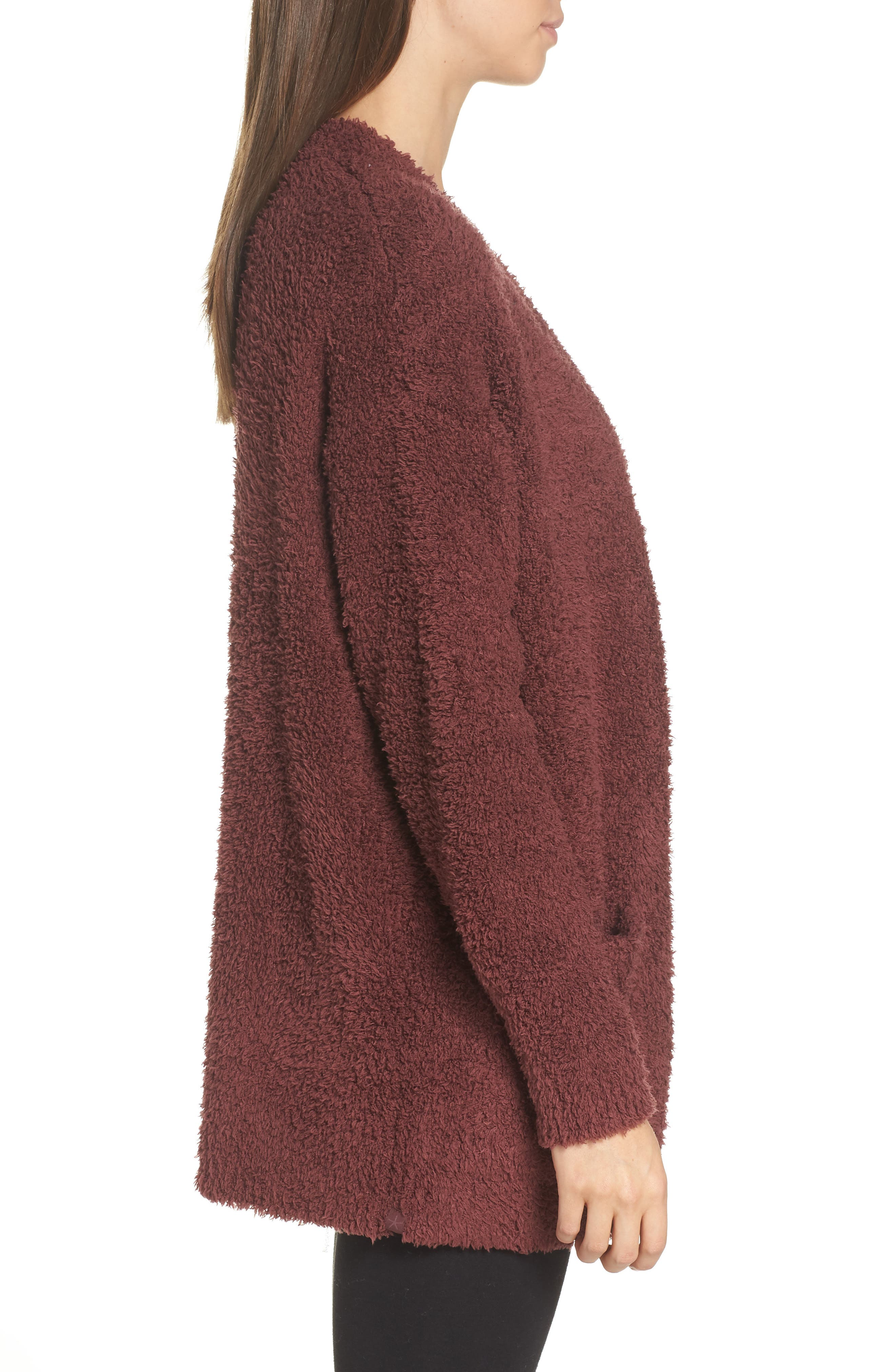 BAREFOOT DREAMS<SUP>®</SUP>, CozyChic<sup>®</sup> Cardigan, Alternate thumbnail 3, color, ROSEWOOD