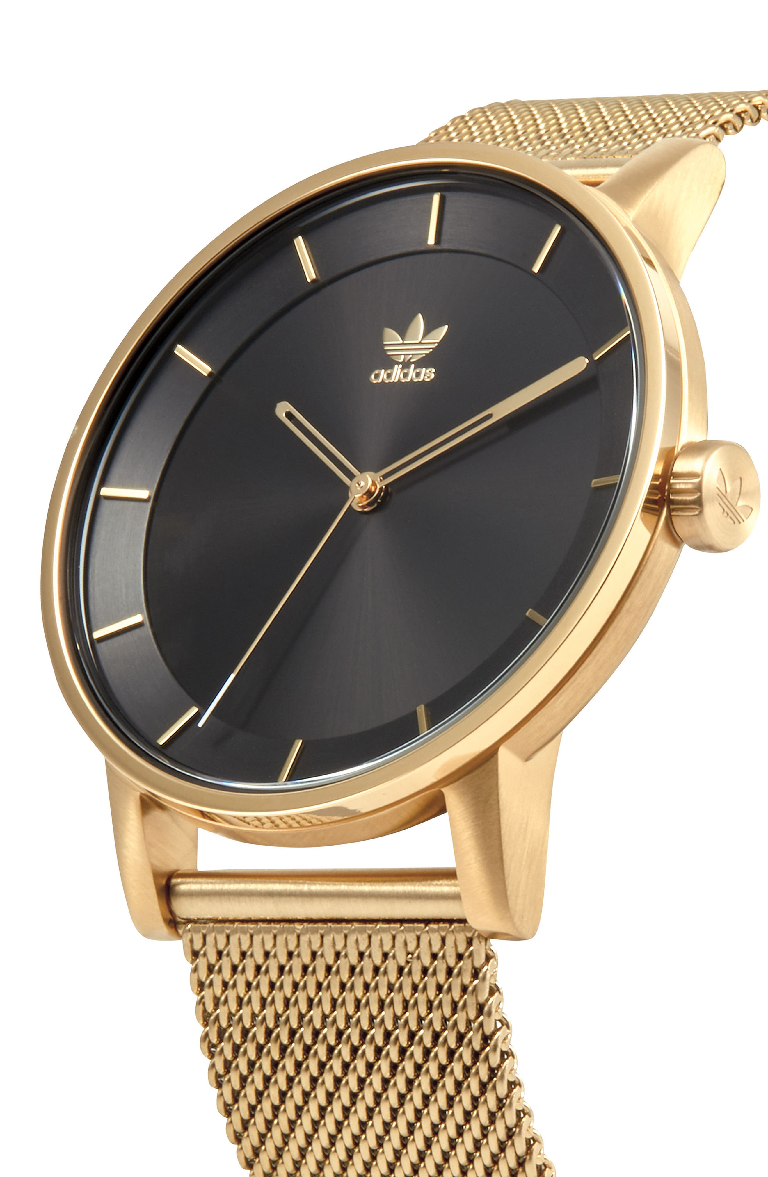 ADIDAS, District Milanese Bracelet Watch, 40mm, Alternate thumbnail 5, color, GOLD/ BLACK