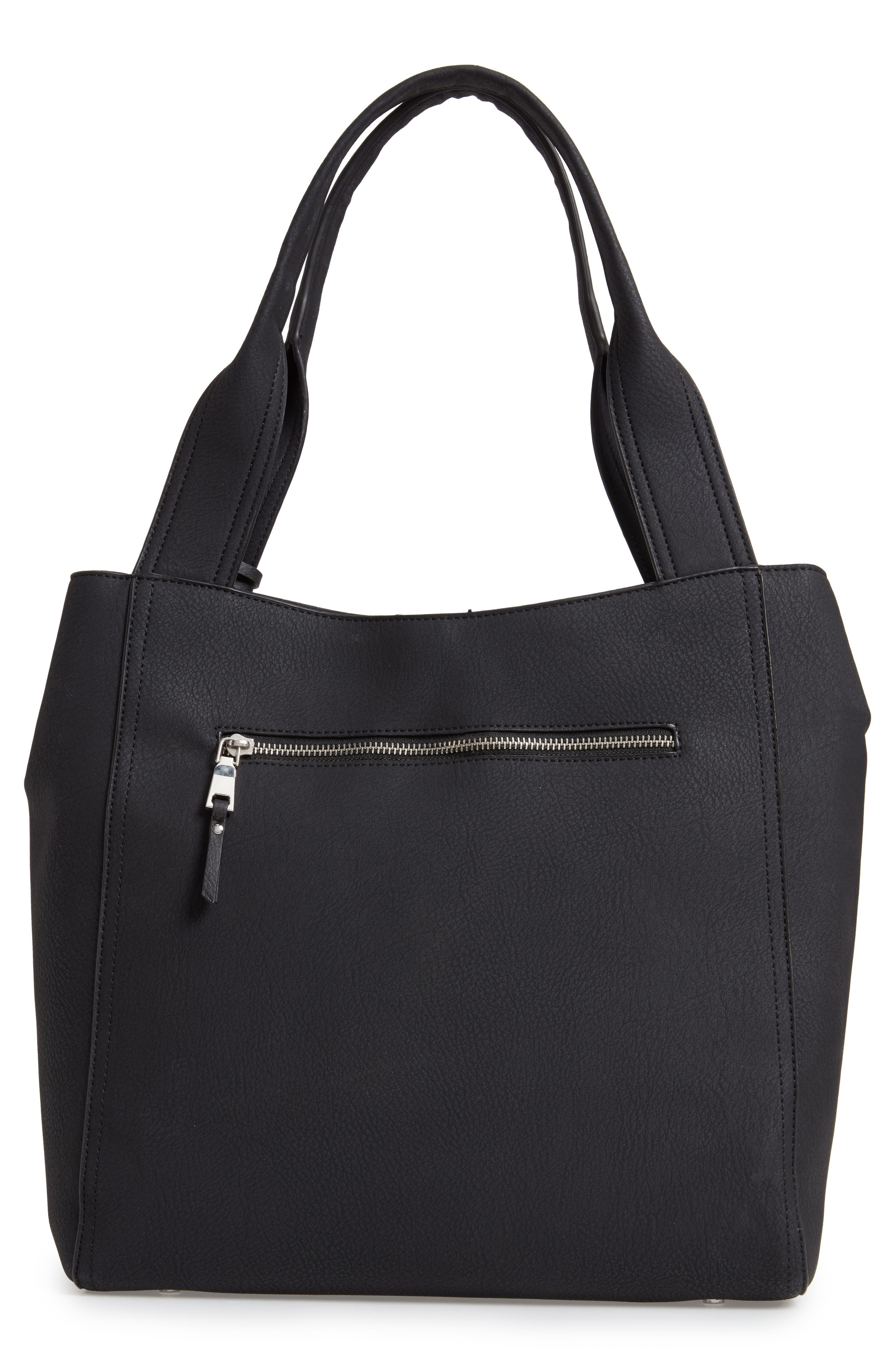 SOLE SOCIETY, Valah Faux Leather Tote, Alternate thumbnail 4, color, BLACK