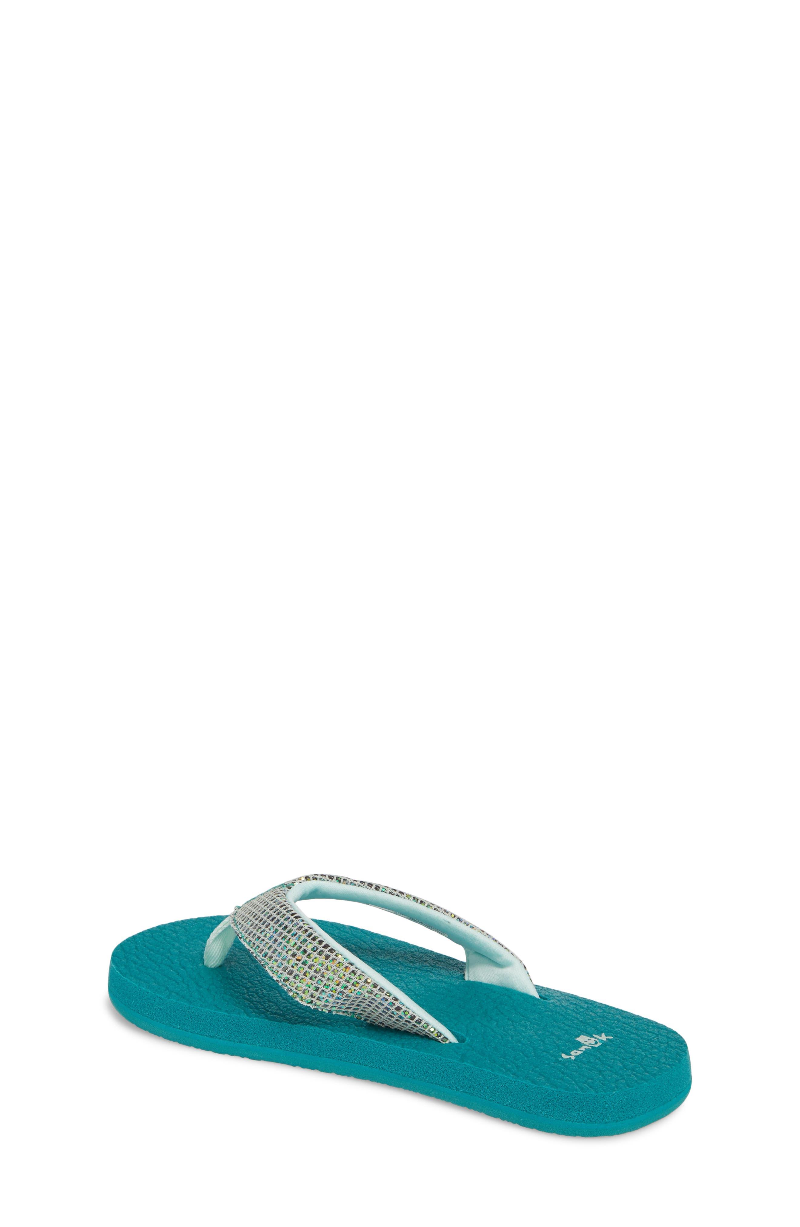 SANUK, 'Yoga' Glitter Sandal, Alternate thumbnail 2, color, SEA GREEN
