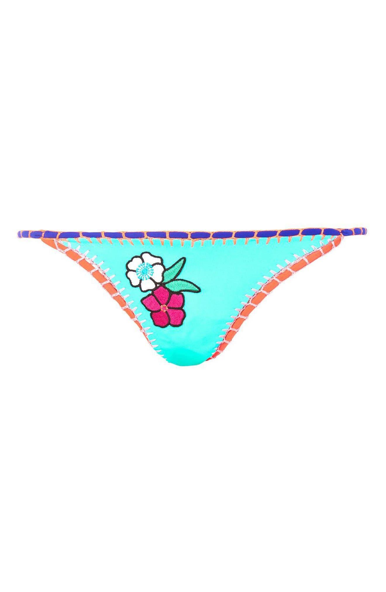 TOPSHOP, Embroidered Crochet Bikini Bottoms, Alternate thumbnail 3, color, 400