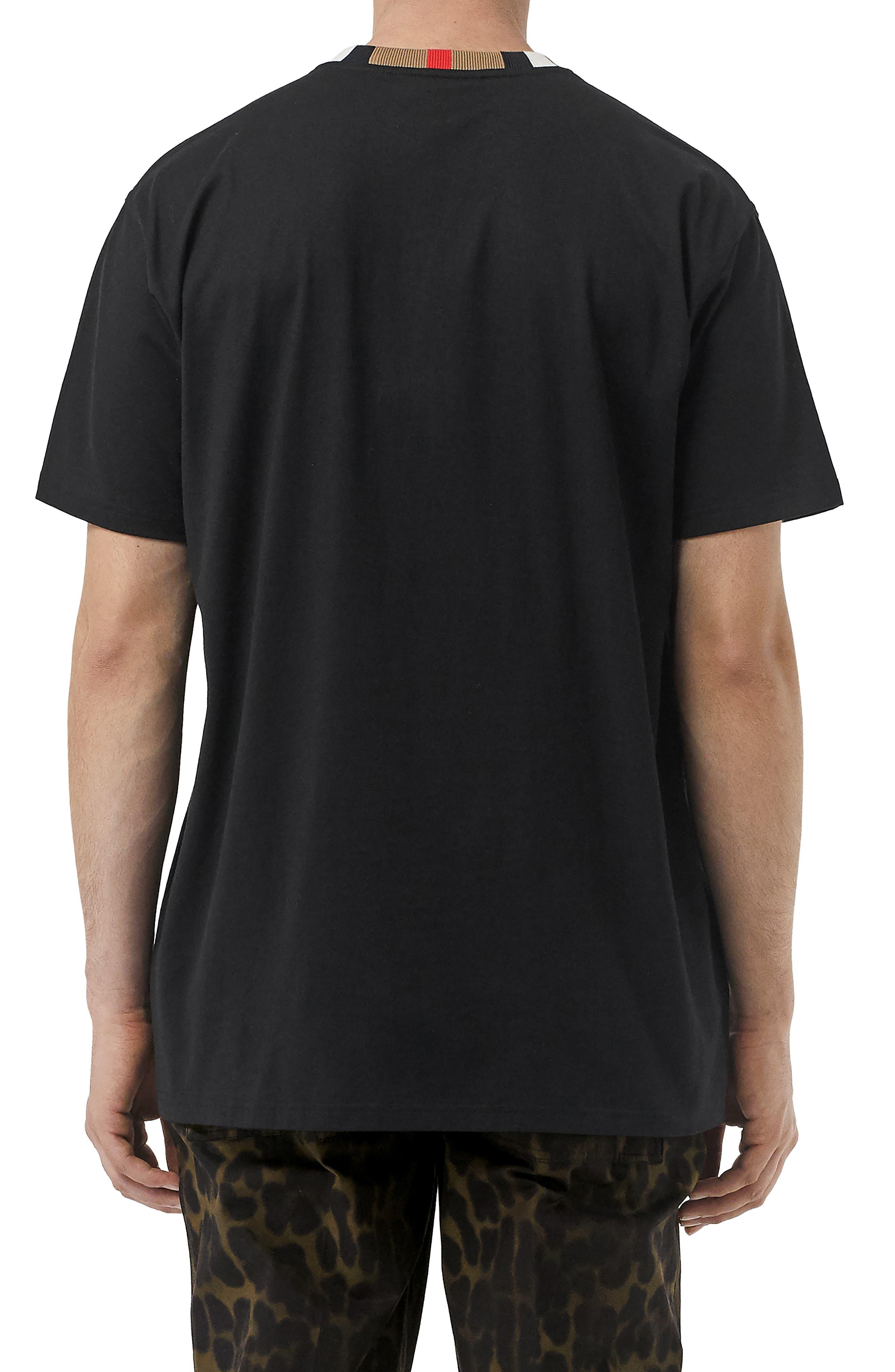 BURBERRY, Jayson Icon Stripe T-Shirt, Alternate thumbnail 2, color, BLACK