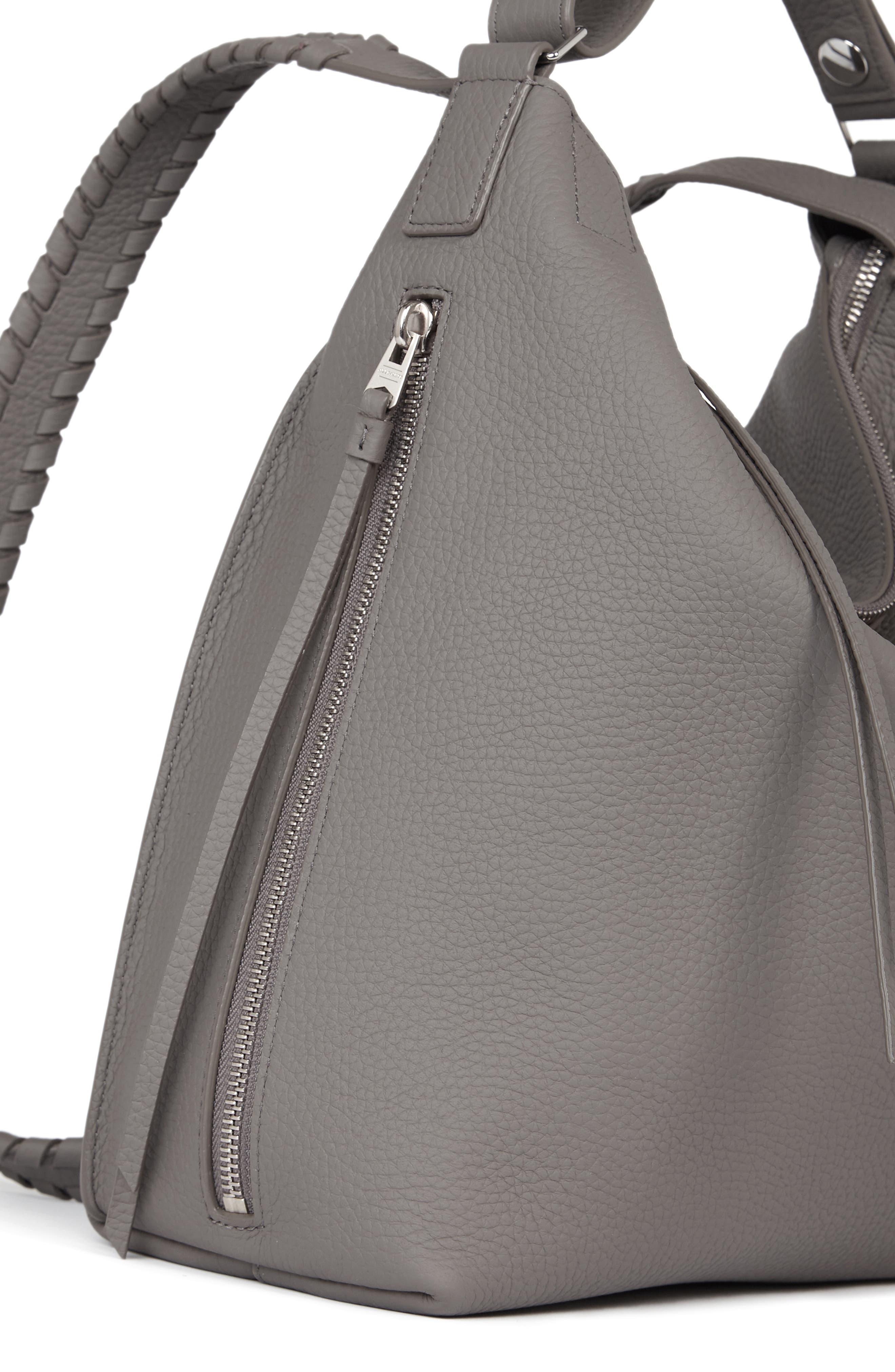 ALLSAINTS, Small Kita Convertible Leather Backpack, Alternate thumbnail 5, color, STORM GREY