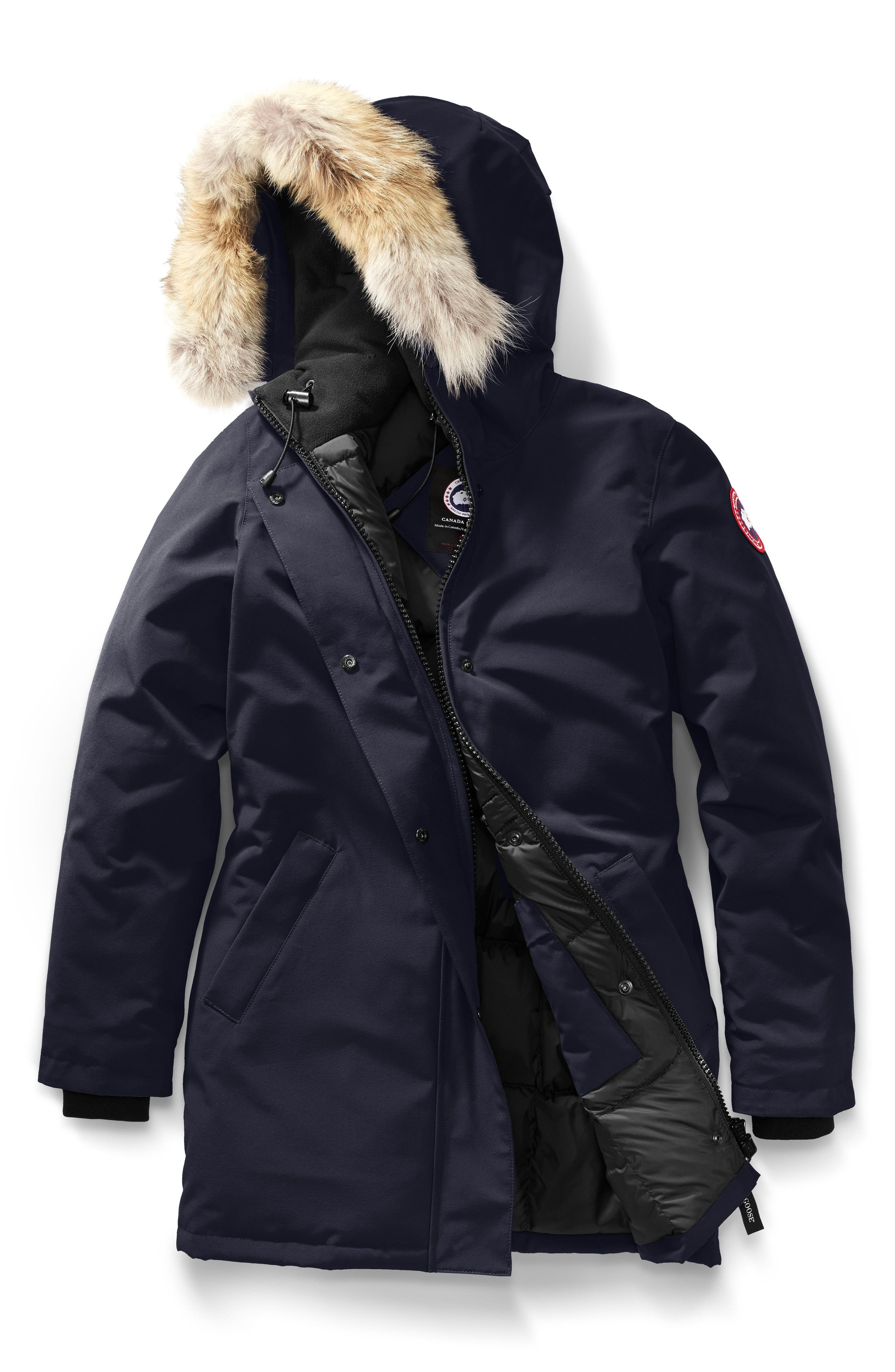 CANADA GOOSE, Victoria Down Parka with Genuine Coyote Fur Trim, Alternate thumbnail 5, color, ADMIRAL BLUE