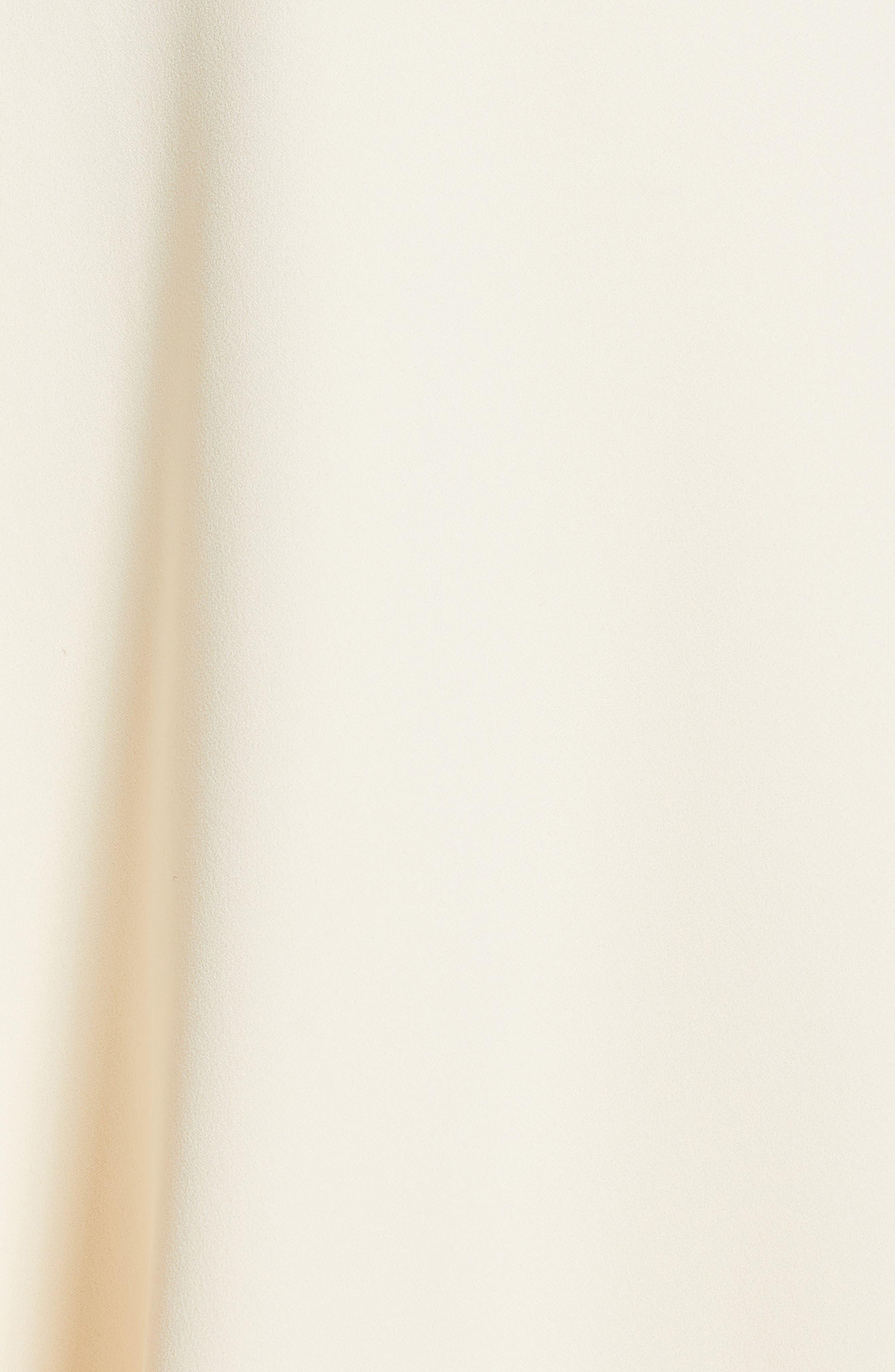 VICTORIA BECKHAM, Leather Trim Midi Skirt, Alternate thumbnail 5, color, MILK/ BLACK