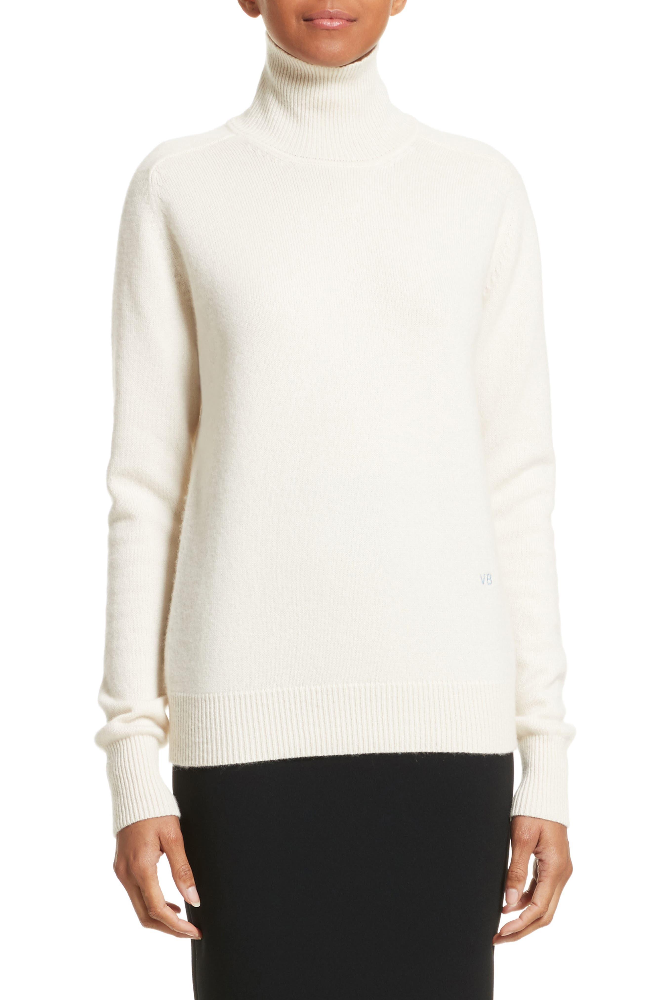 VICTORIA BECKHAM, Cashmere Turtleneck Sweater, Main thumbnail 1, color, VANILLA