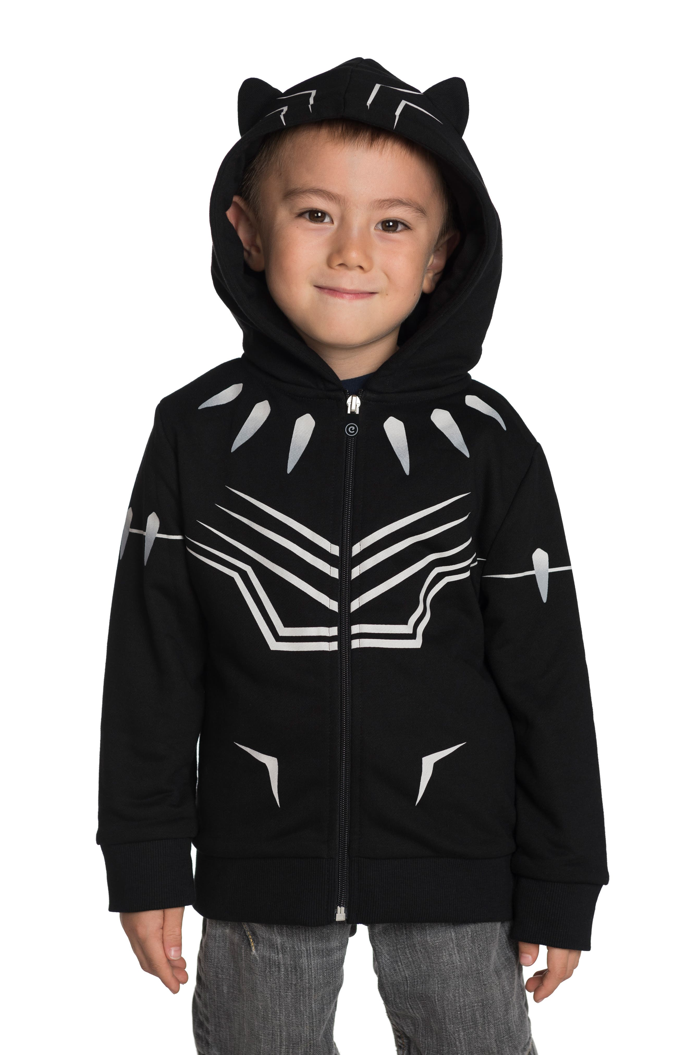 CUBCOATS, Marvel<sup>®</sup> 2018 Black Panther<sup>®</sup> 2-in-1 Stuffed Animal Hoodie, Alternate thumbnail 2, color, BLACK