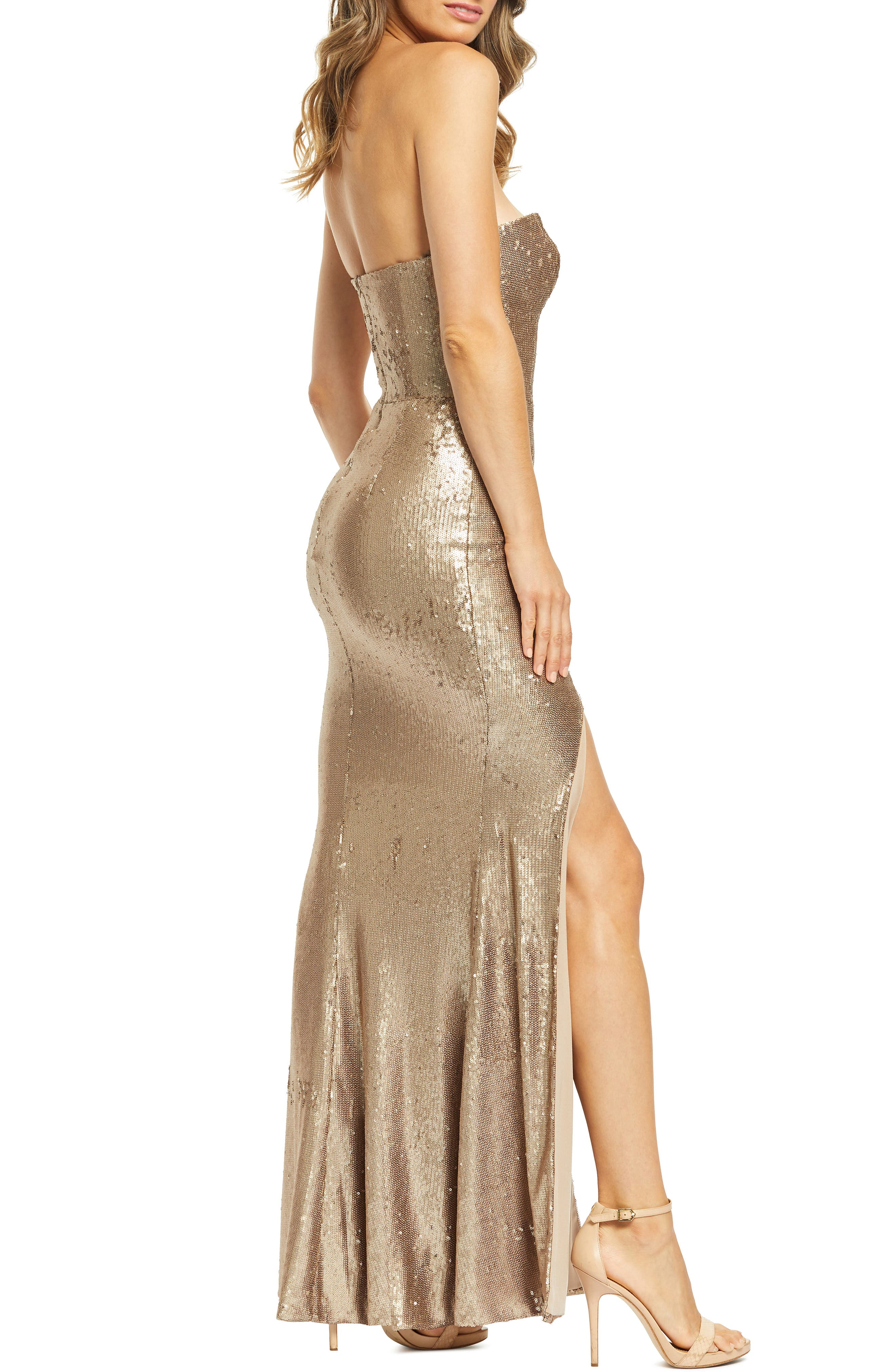 DRESS THE POPULATION, Ellen Strapless Sequin Evening Dress, Alternate thumbnail 4, color, BRONZE