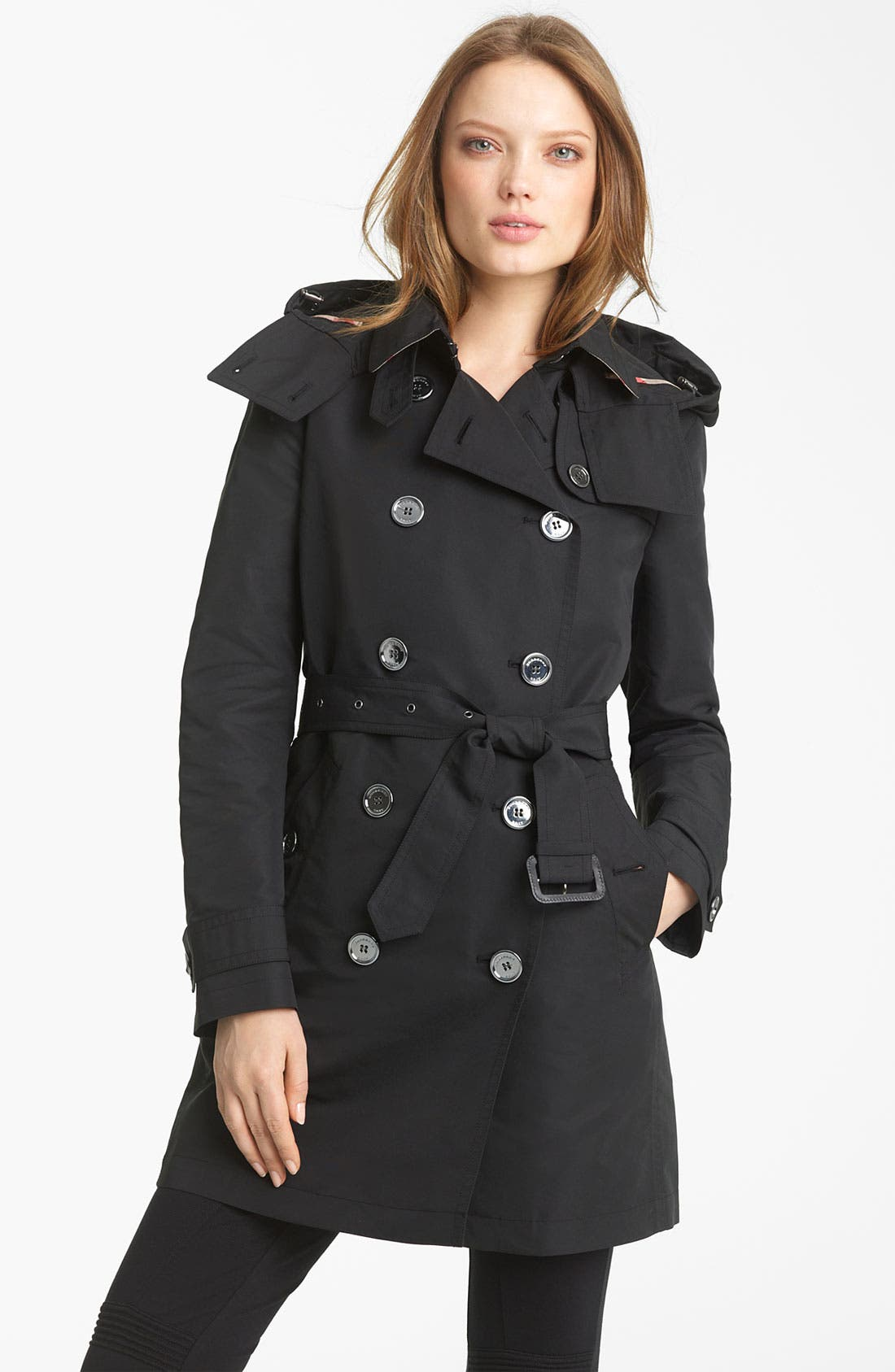 BURBERRY BRIT, Double Breasted Trench Coat, Main thumbnail 1, color, 001