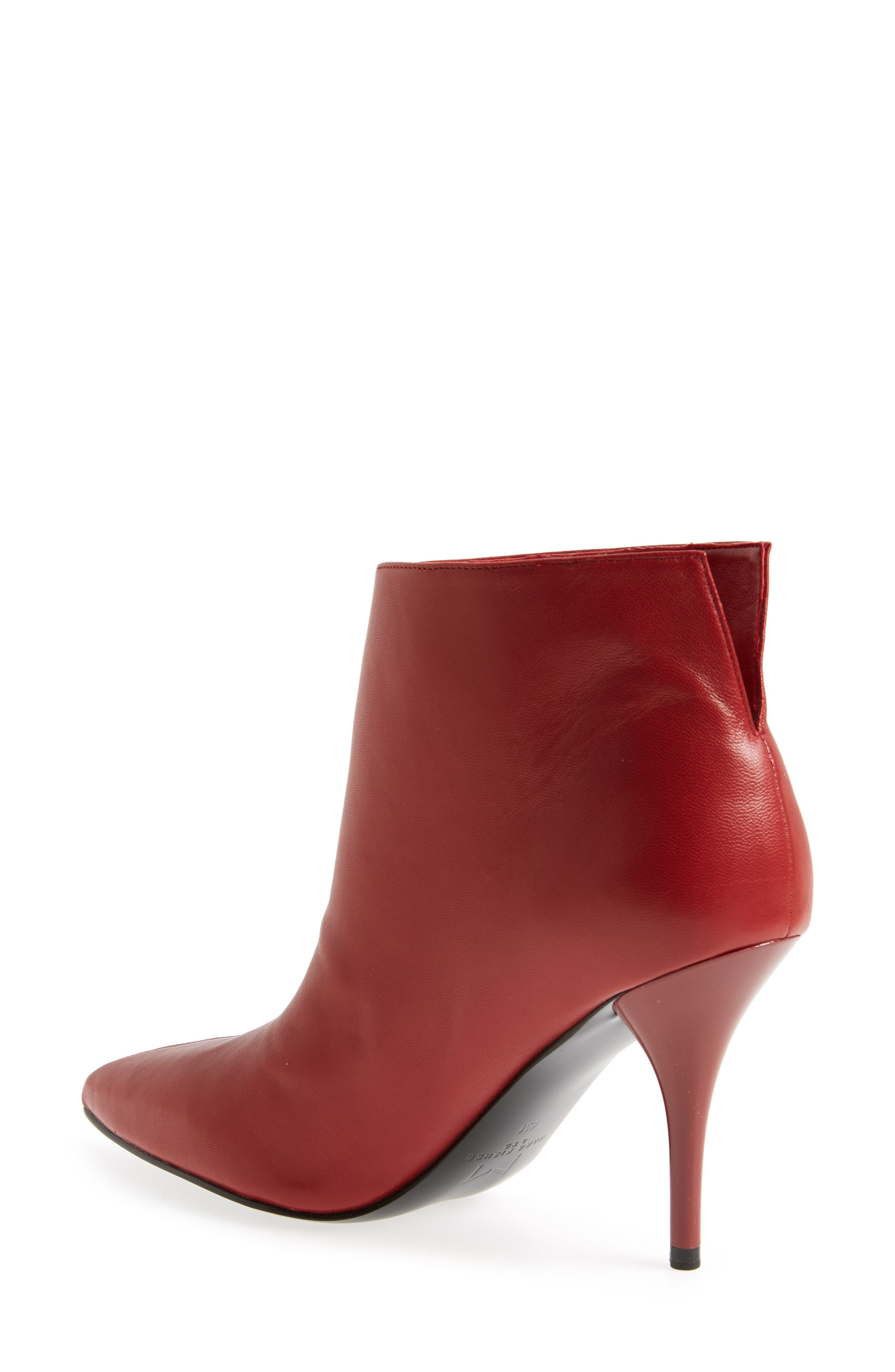 MARC FISHER LTD, Fenet Pointy Toe Bootie, Alternate thumbnail 2, color, RED LEATHER