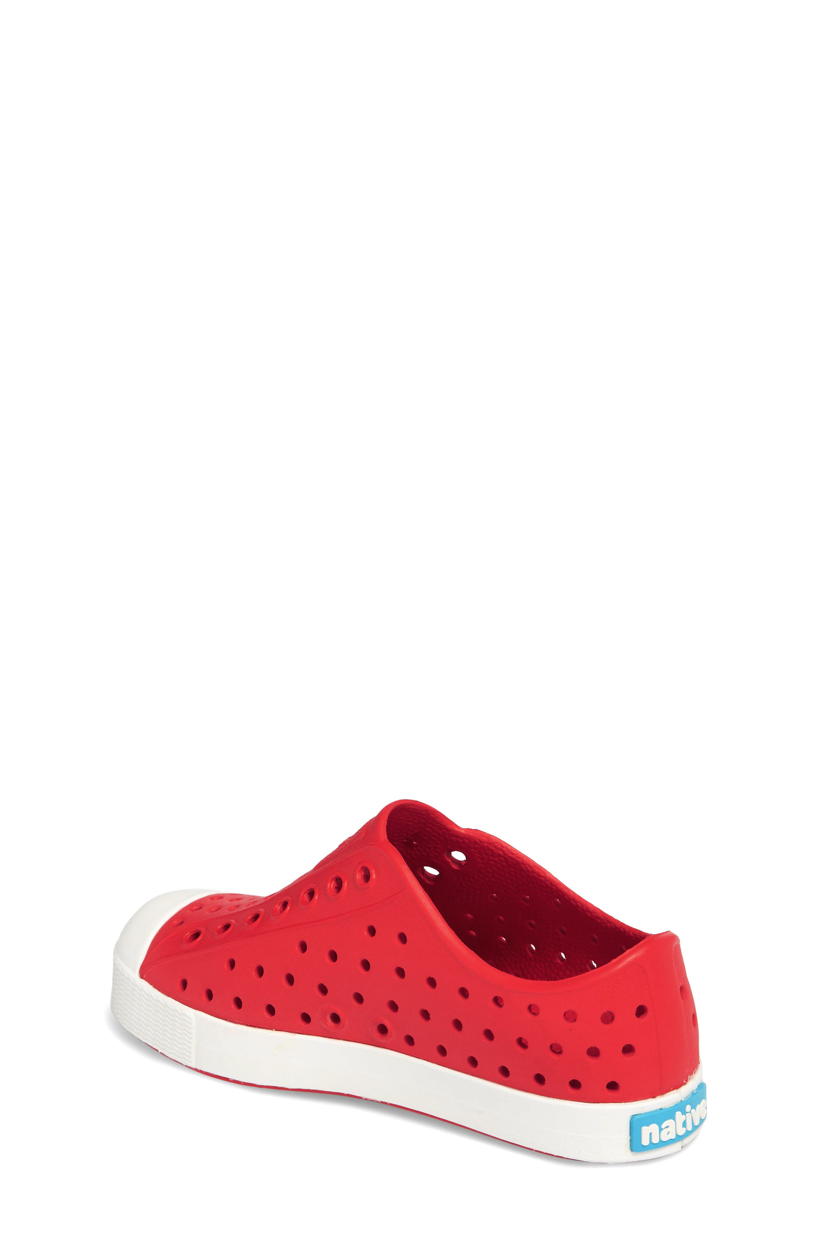 NATIVE SHOES, Jefferson Water Friendly Slip-On Vegan Sneaker, Alternate thumbnail 2, color, TORCH RED/ SHELL WHITE