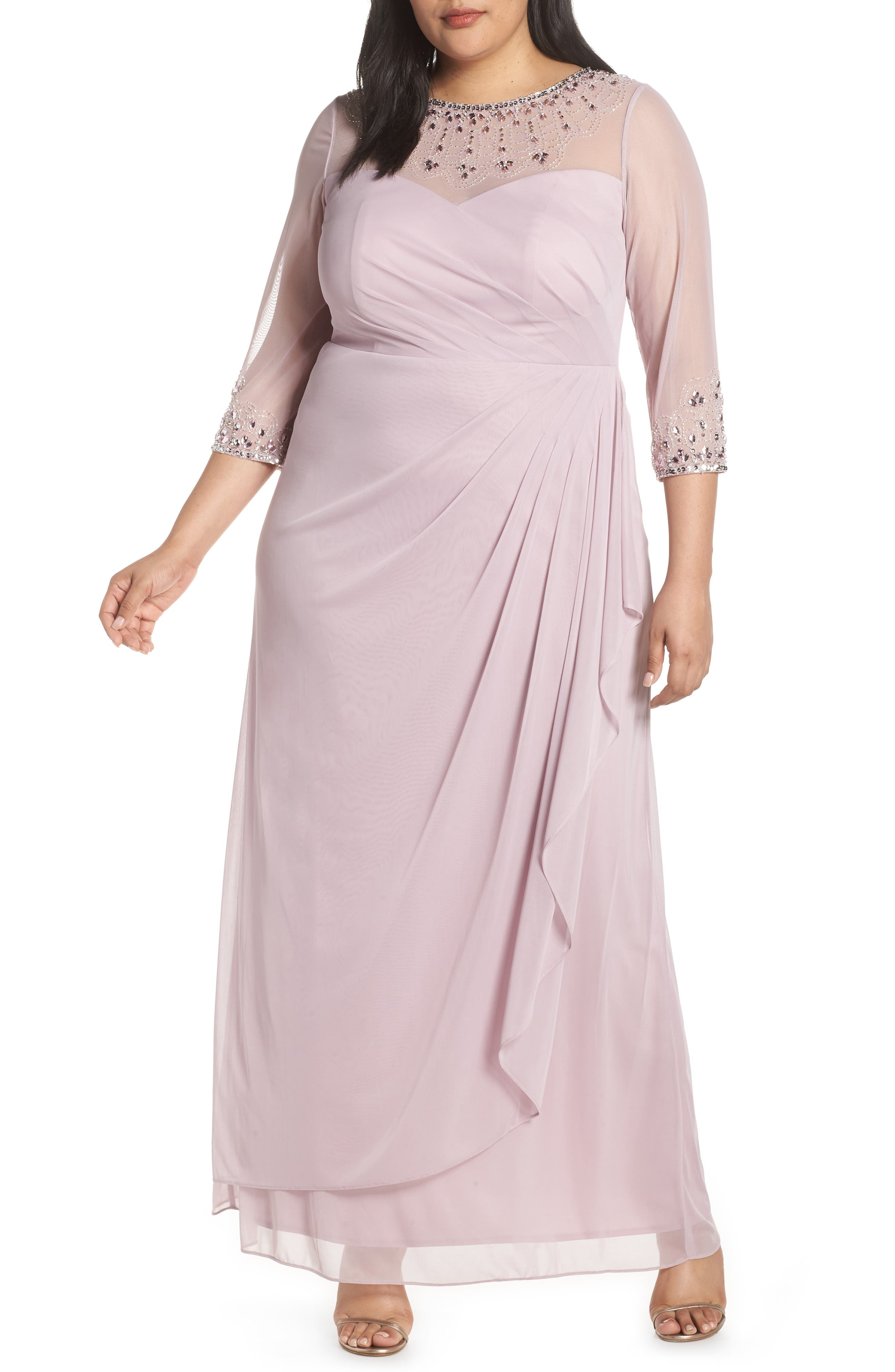 ALEX EVENINGS, Beaded Illusion Neck A-Line Gown, Main thumbnail 1, color, SMOKEY ORCHID