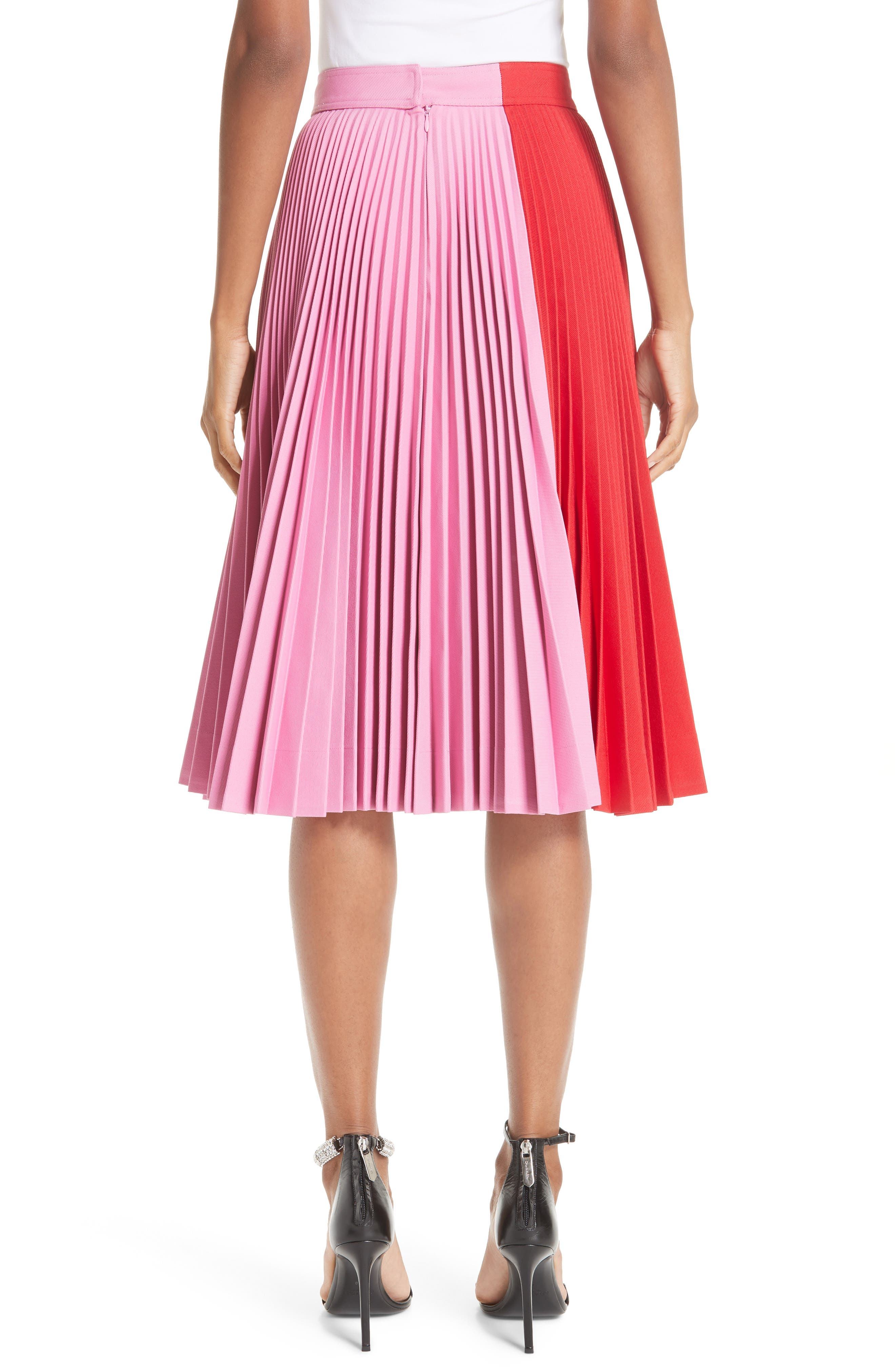 CALVIN KLEIN 205W39NYC, Bicolor Pleated Skirt, Alternate thumbnail 2, color, SCARLET ANEMONE
