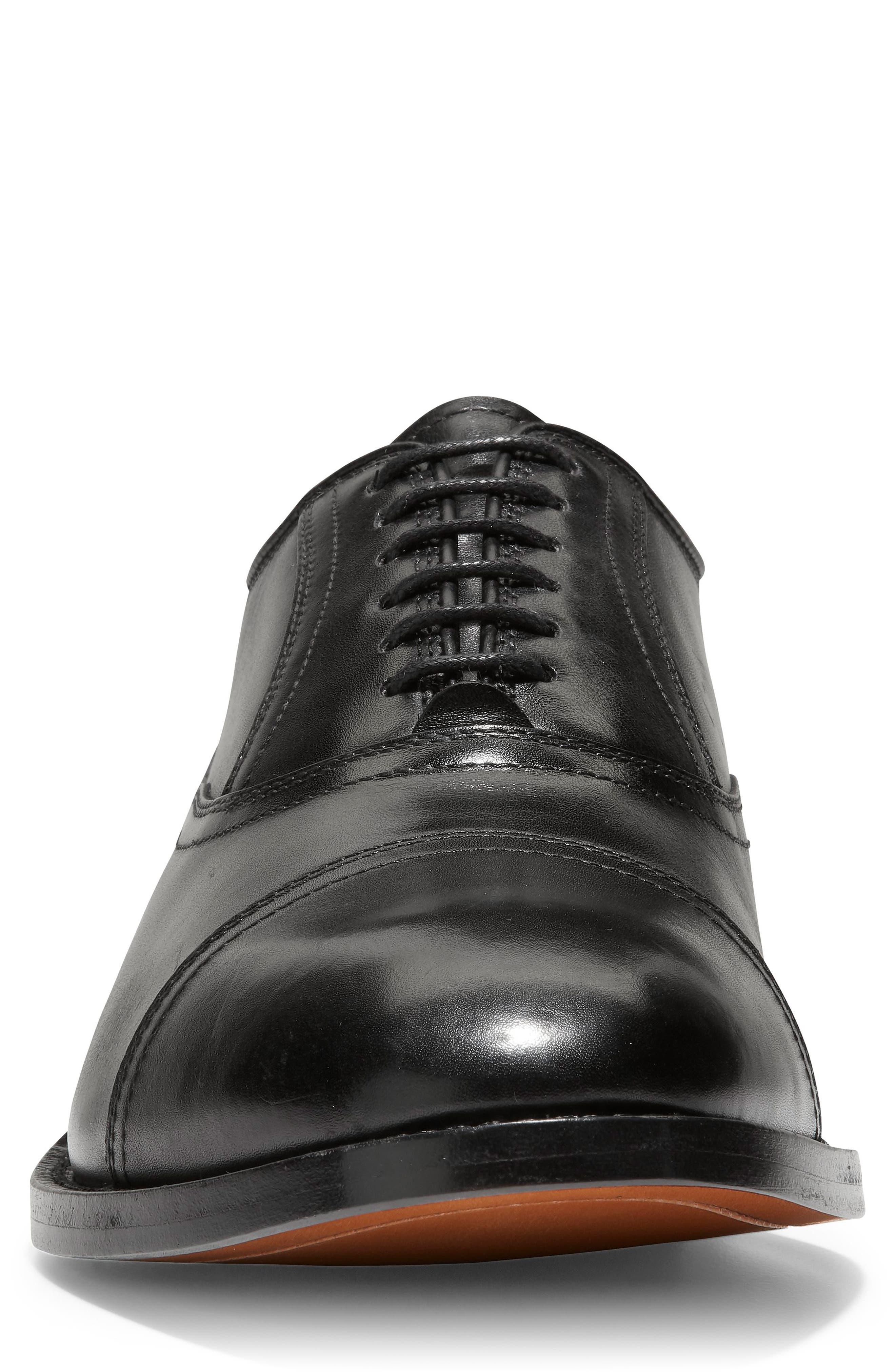 COLE HAAN, American Classics Kneeland Cap Toe Oxford, Alternate thumbnail 4, color, BLACK LEATHER