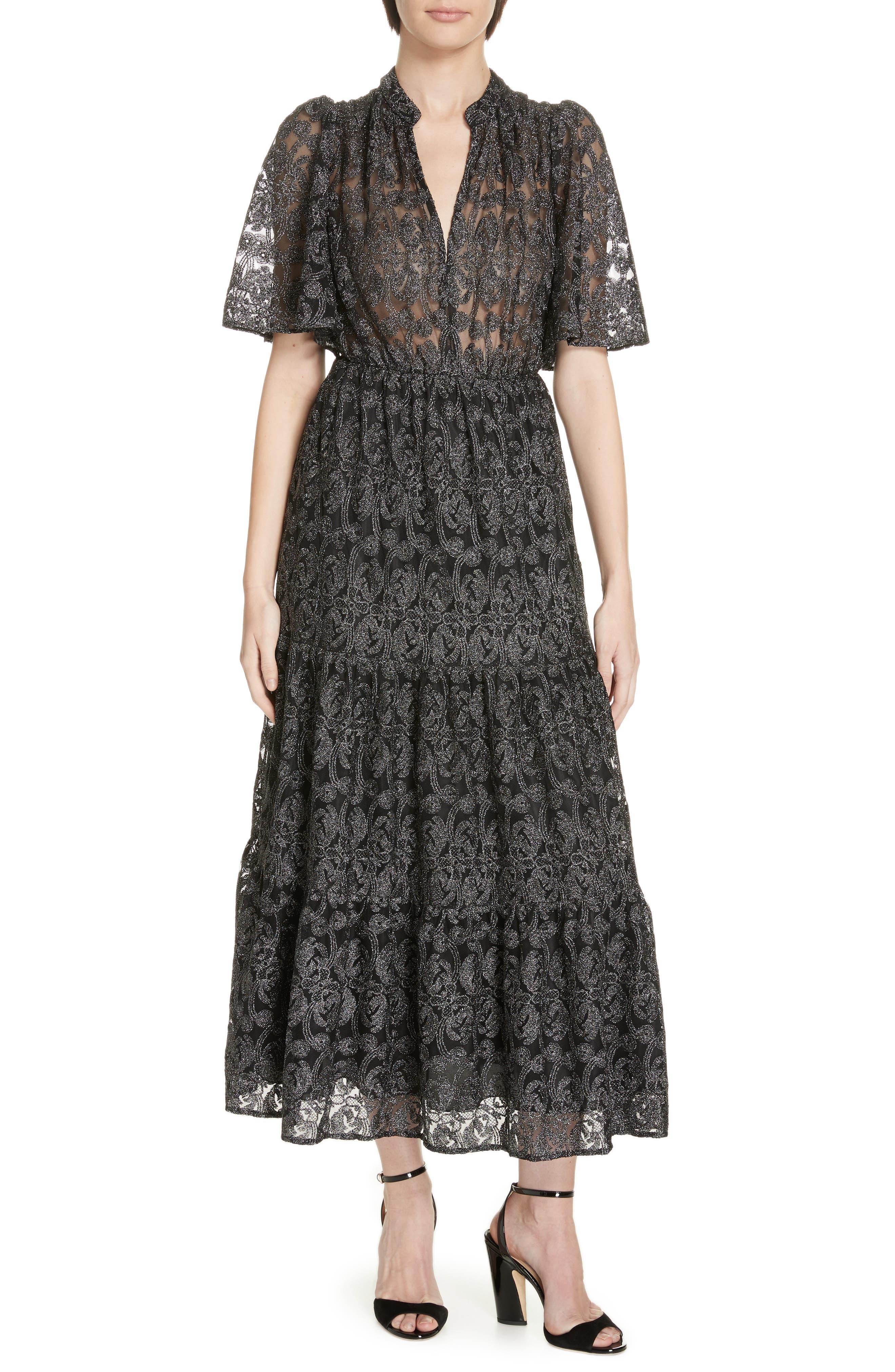 Kate Spade New York Metallic Embroidered Midi Dress, Black