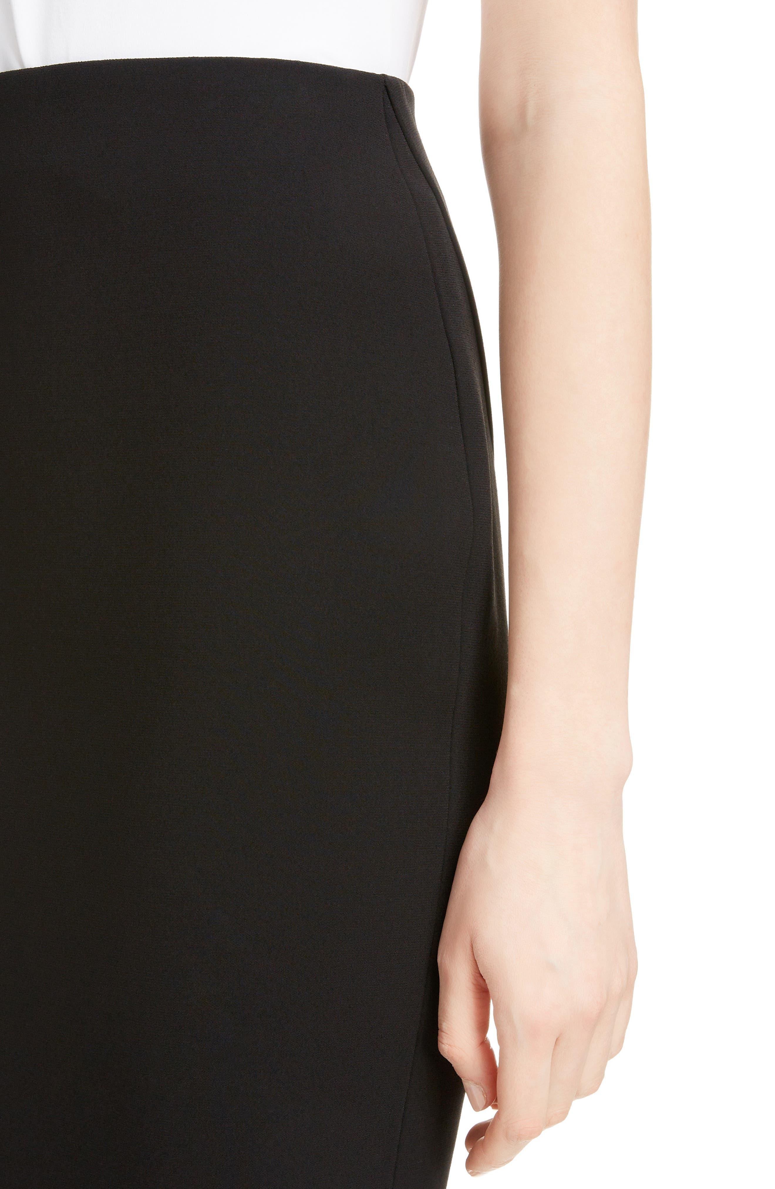 VICTORIA BECKHAM, Back Zip Pencil Skirt, Alternate thumbnail 4, color, BLACK