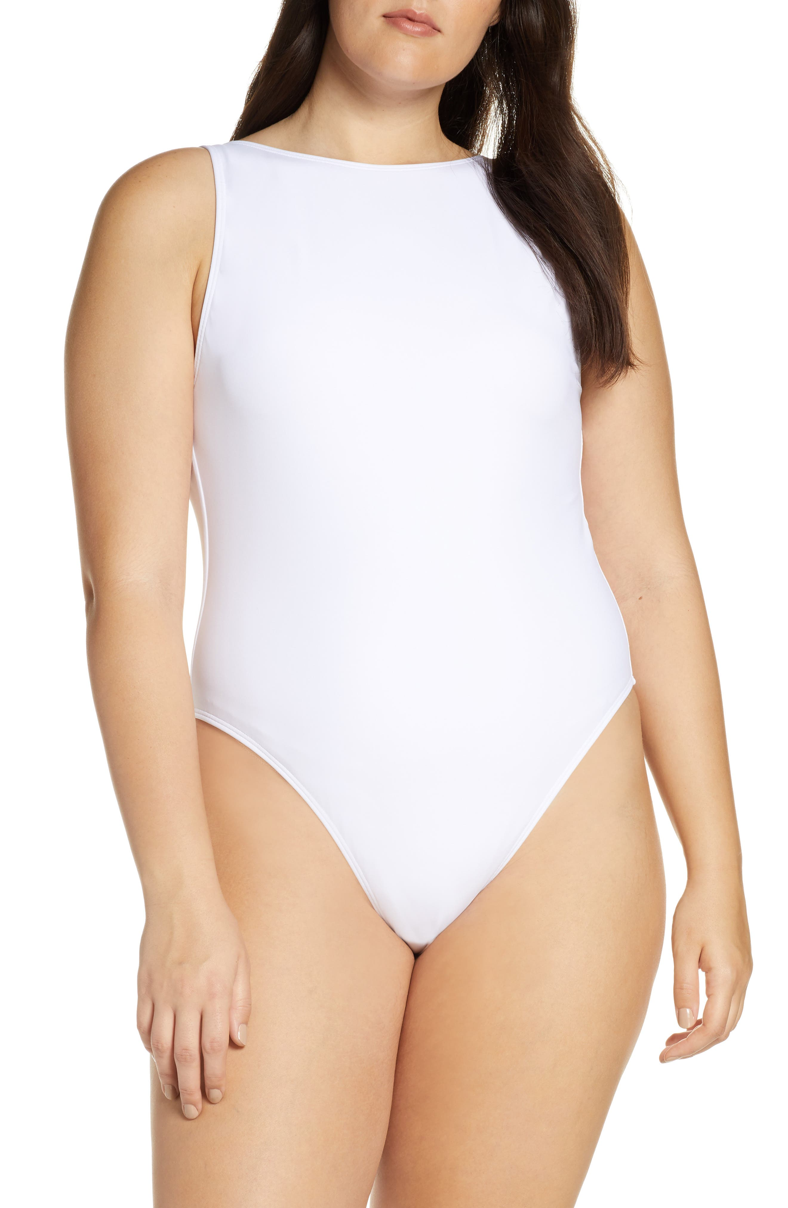 SOMETHING NAVY, Low Back One-Piece Swimsuit, Alternate thumbnail 8, color, WHITE