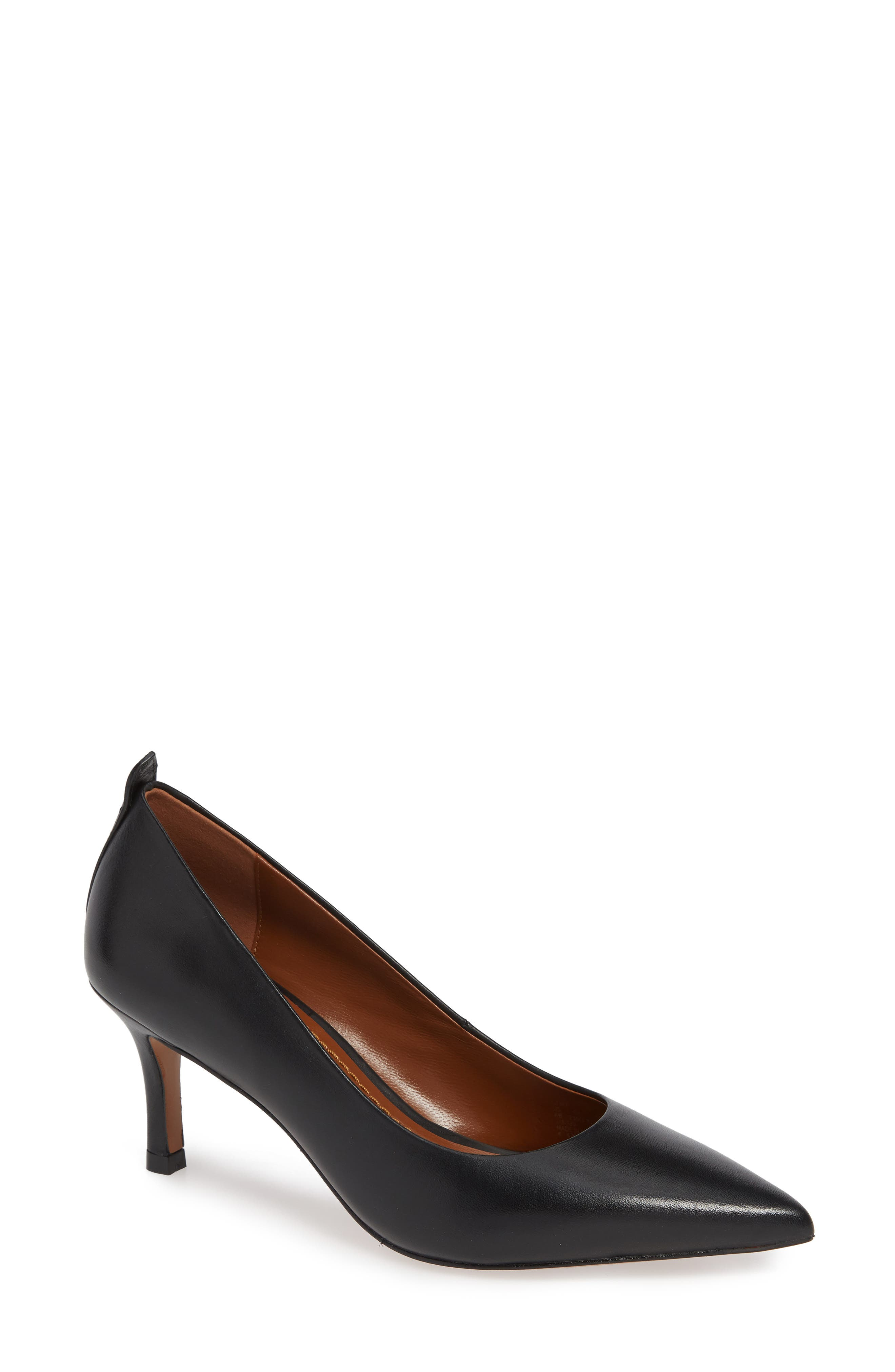 COACH Waverly Mid Heel Pump, Main, color, BLACK LEATHER