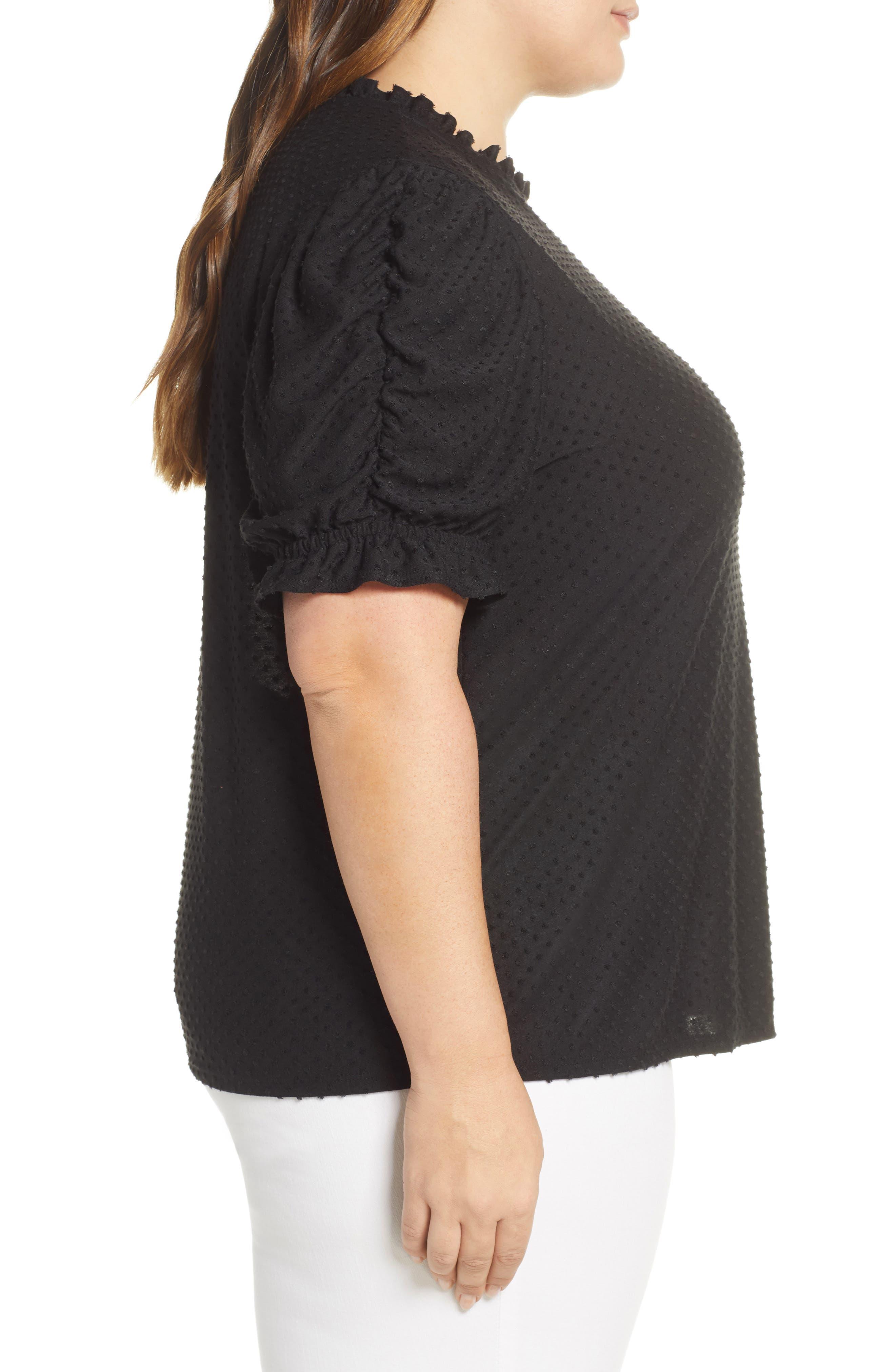 GIBSON, x International Women's Day Rebecca Clip Dot Ruffle Sleeve Blouse, Alternate thumbnail 3, color, CHARCOAL