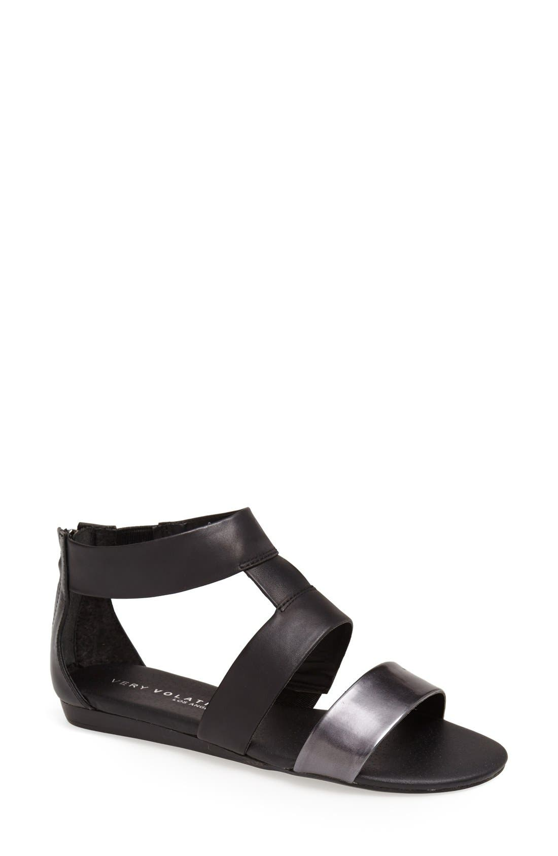 VERY VOLATILE 'Collective' Leather Sandal, Main, color, 001