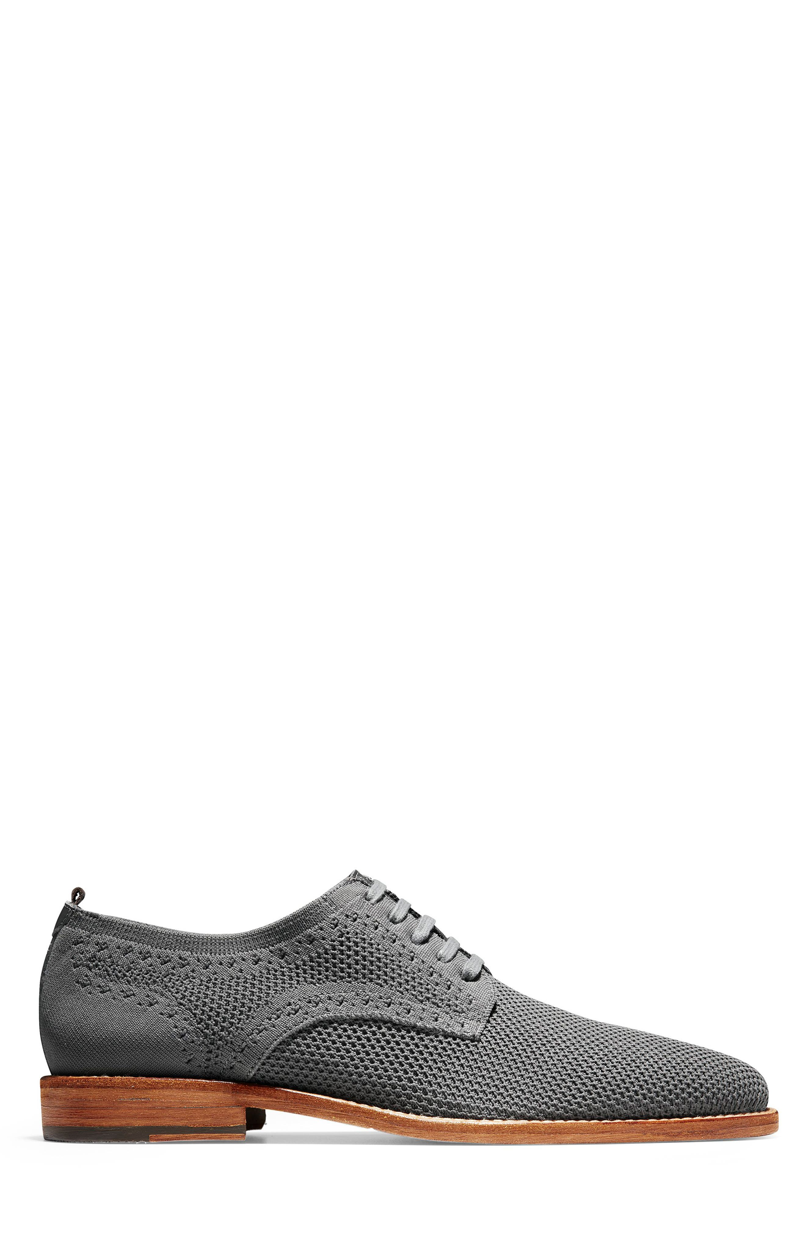 COLE HAAN, Feathercraft Grand Stitchlite Plain Toe Derby, Alternate thumbnail 3, color, MAGNET KNIT